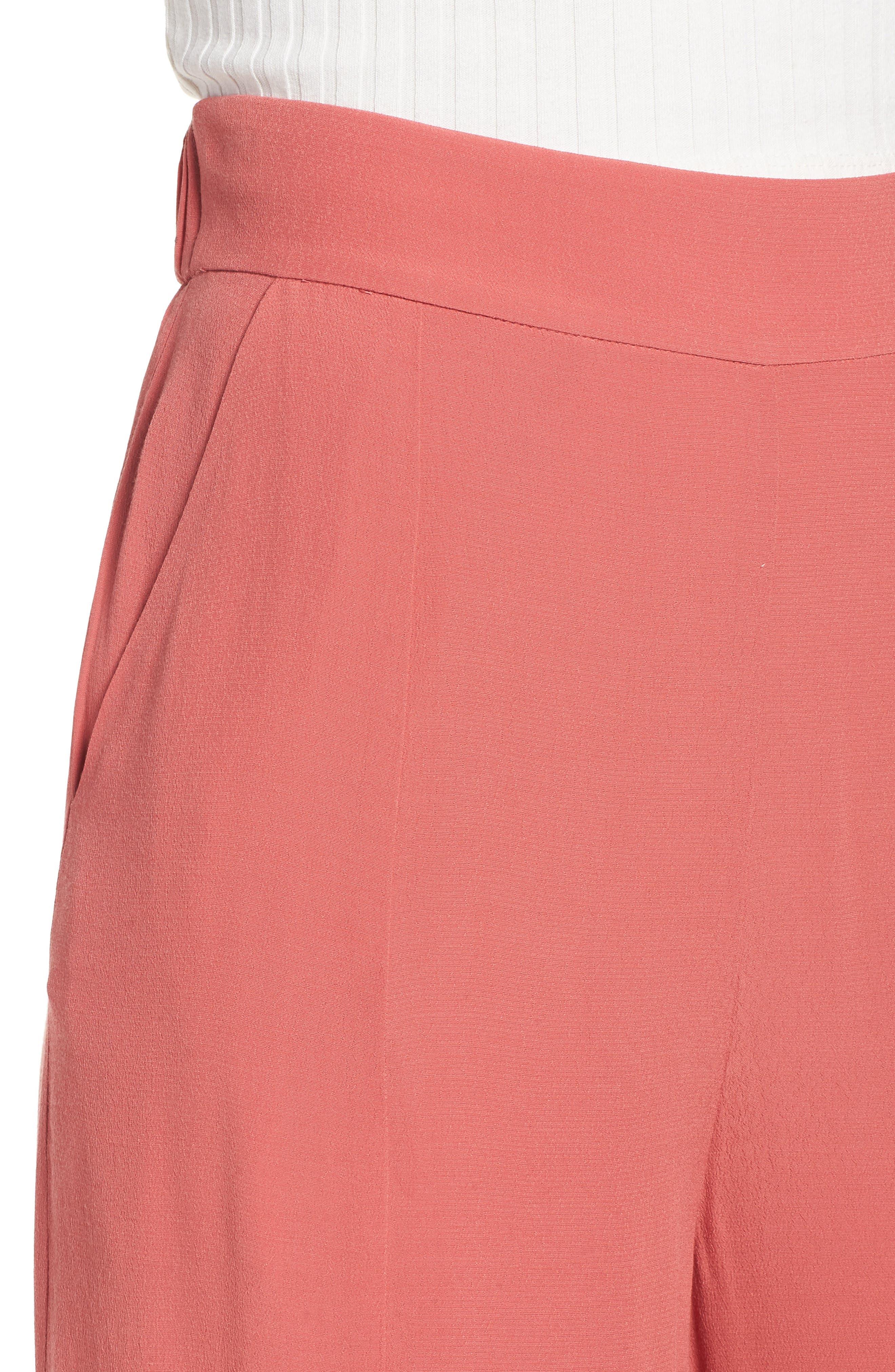 High Waist Crop Wide Leg Pants,                             Alternate thumbnail 4, color,                             Coral Faded