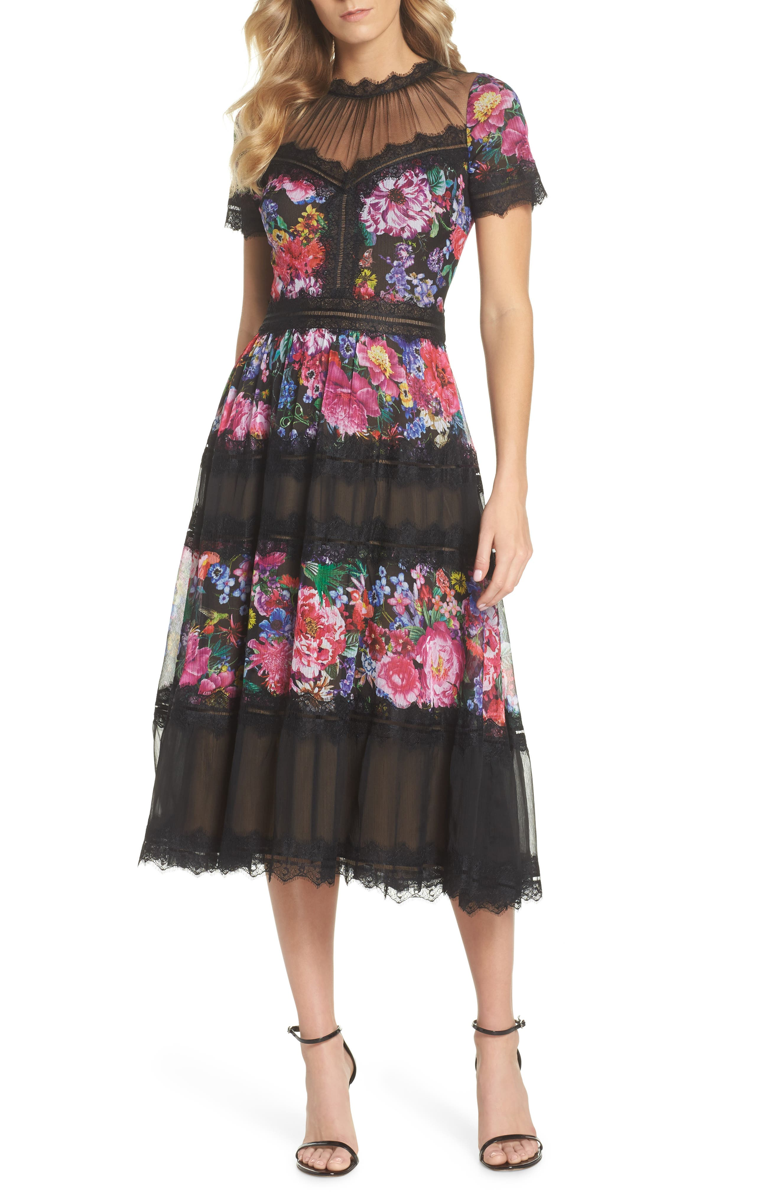 Lace Floral Midi Dress,                             Main thumbnail 1, color,                             Black/ Floral
