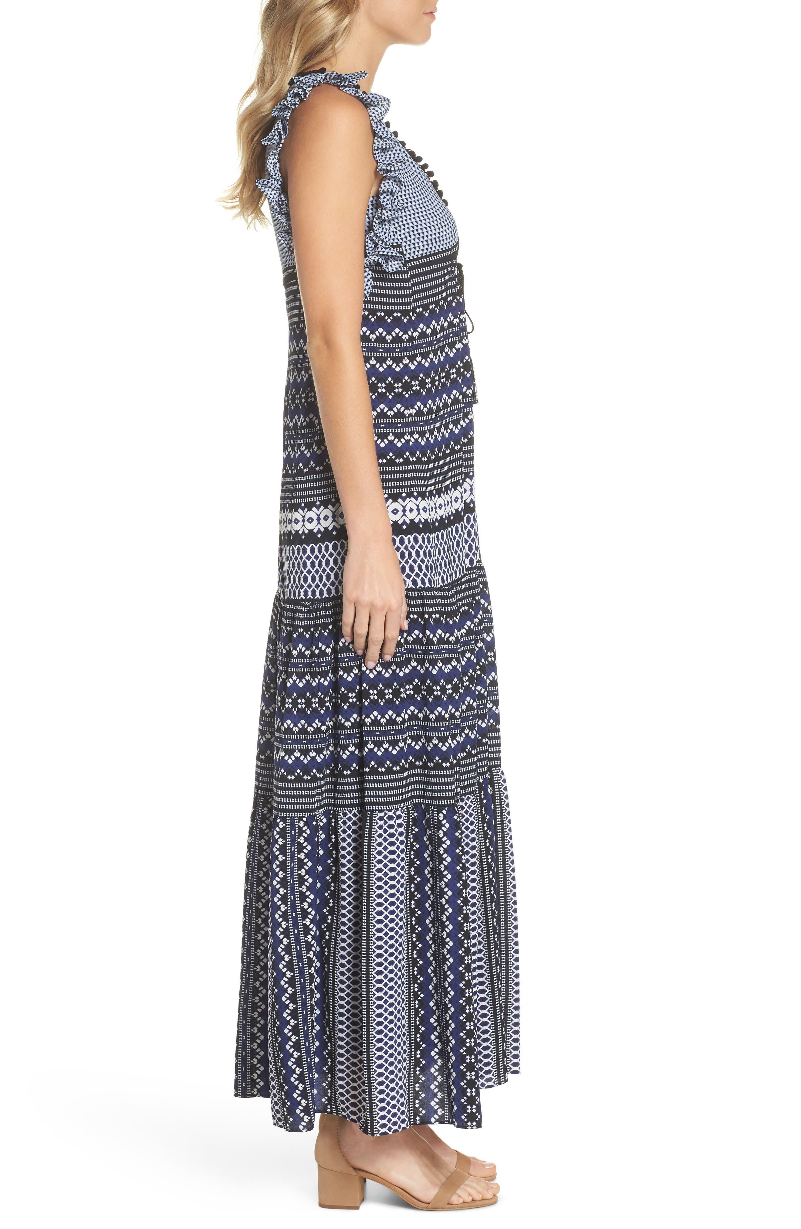 Mixed Print Ruffle Maxi Dress,                             Alternate thumbnail 3, color,                             Navy Black