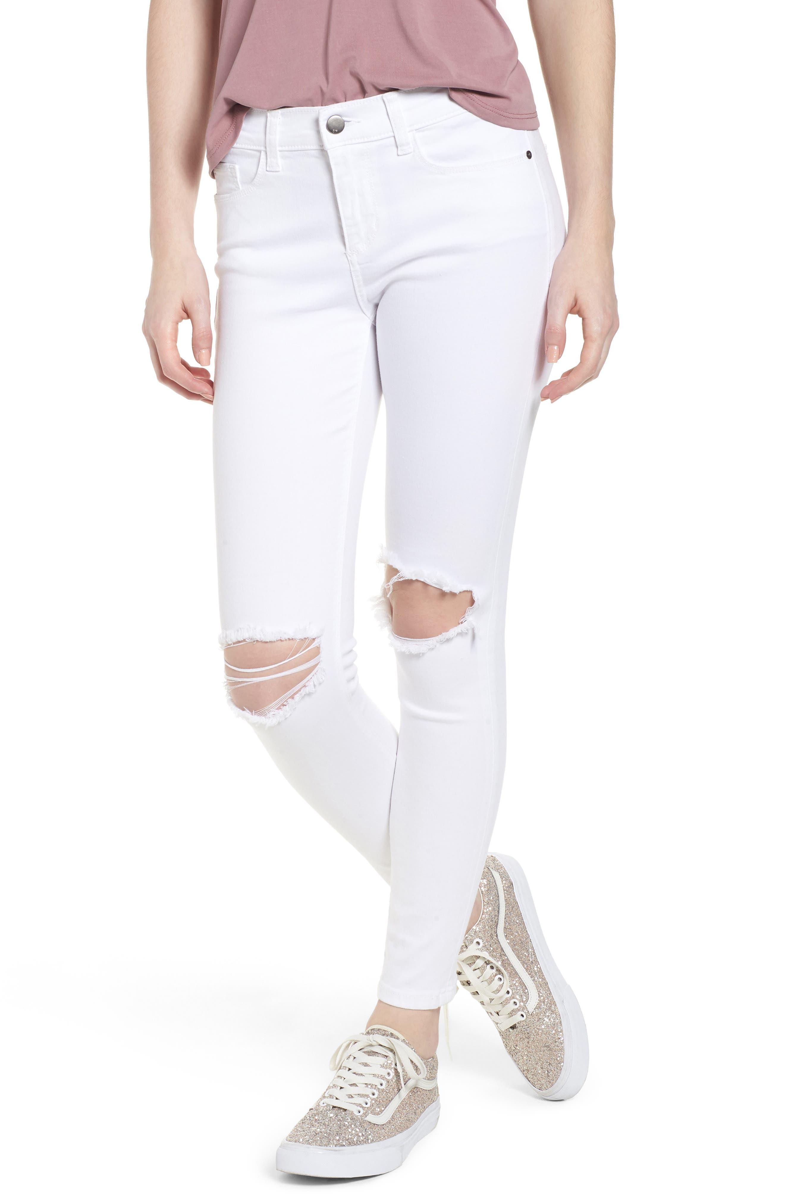 Open Knee Skinny Jeans,                             Main thumbnail 1, color,                             White