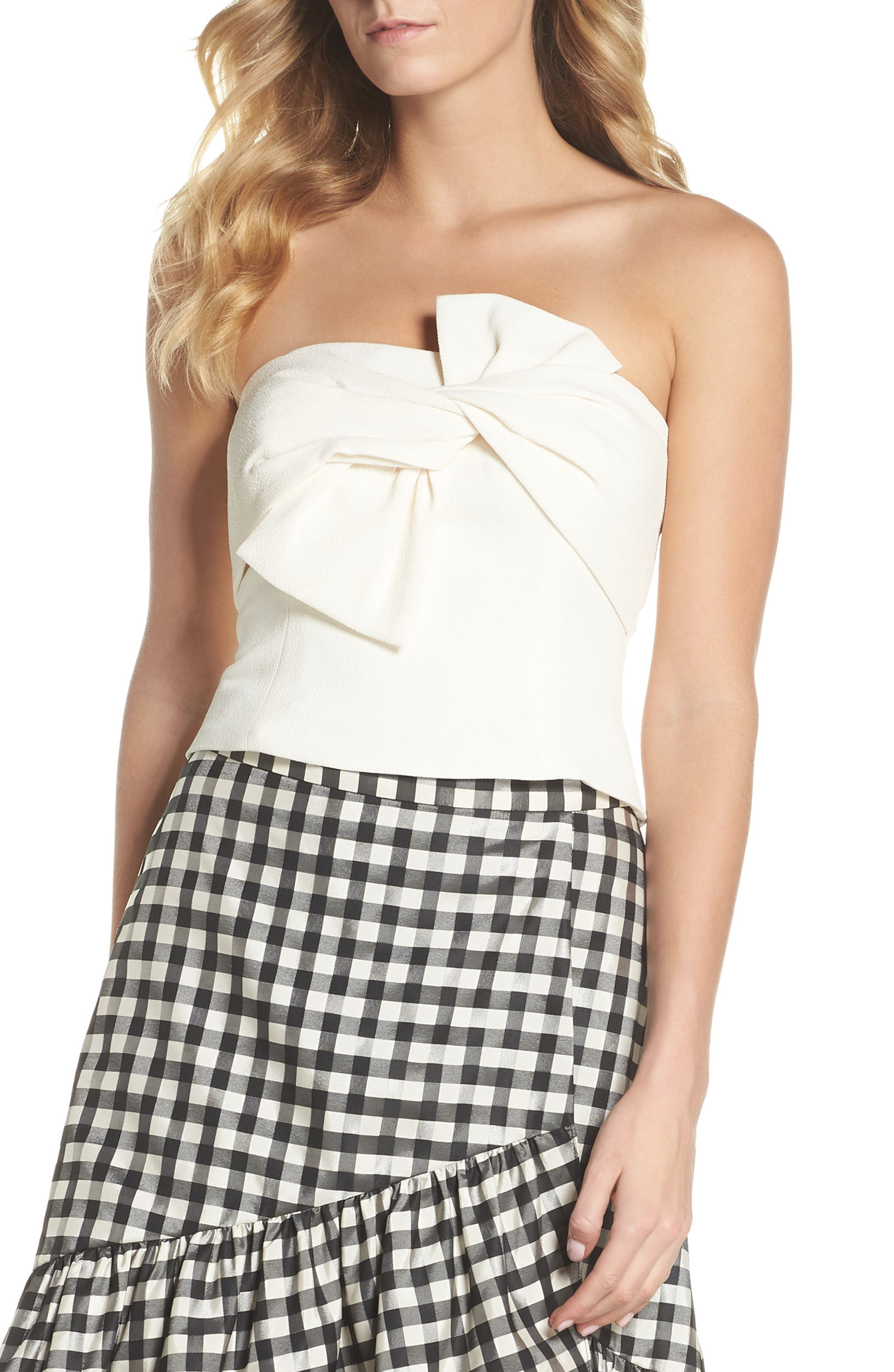 Strapless Bow Crepe Top,                         Main,                         color, White
