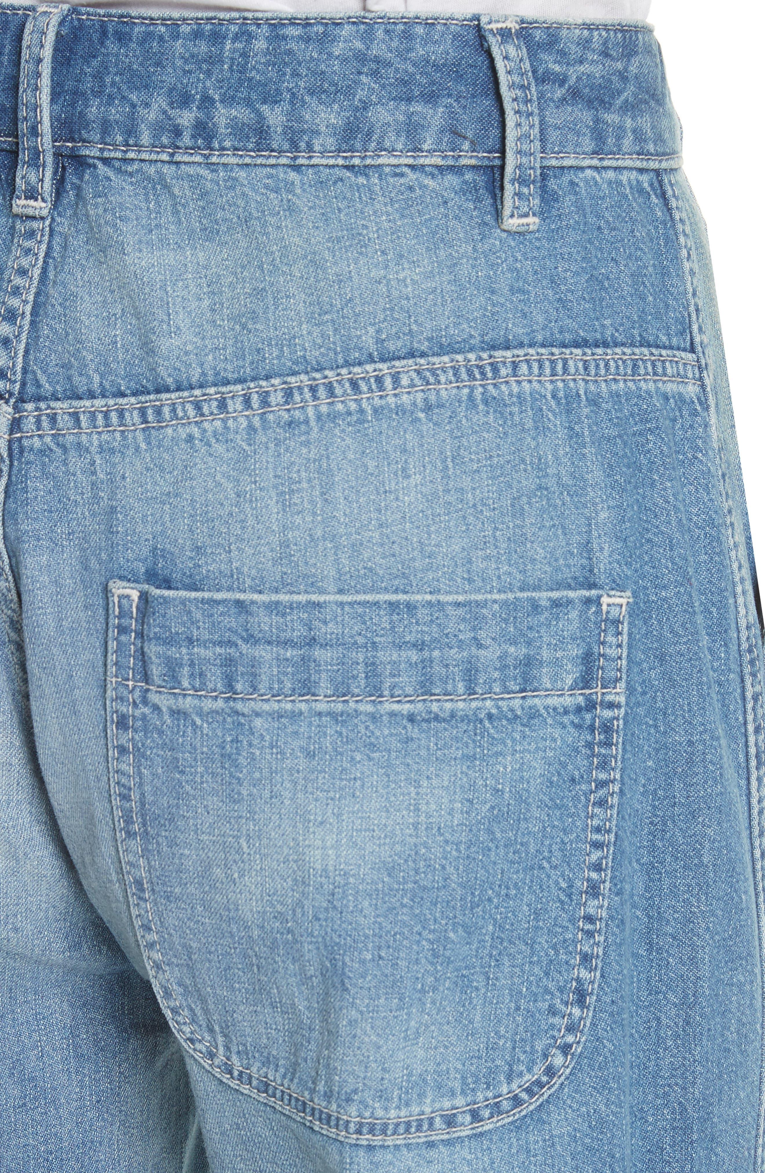 Drapey Denim Wide Leg Pants,                             Alternate thumbnail 4, color,                             Riviera Wash