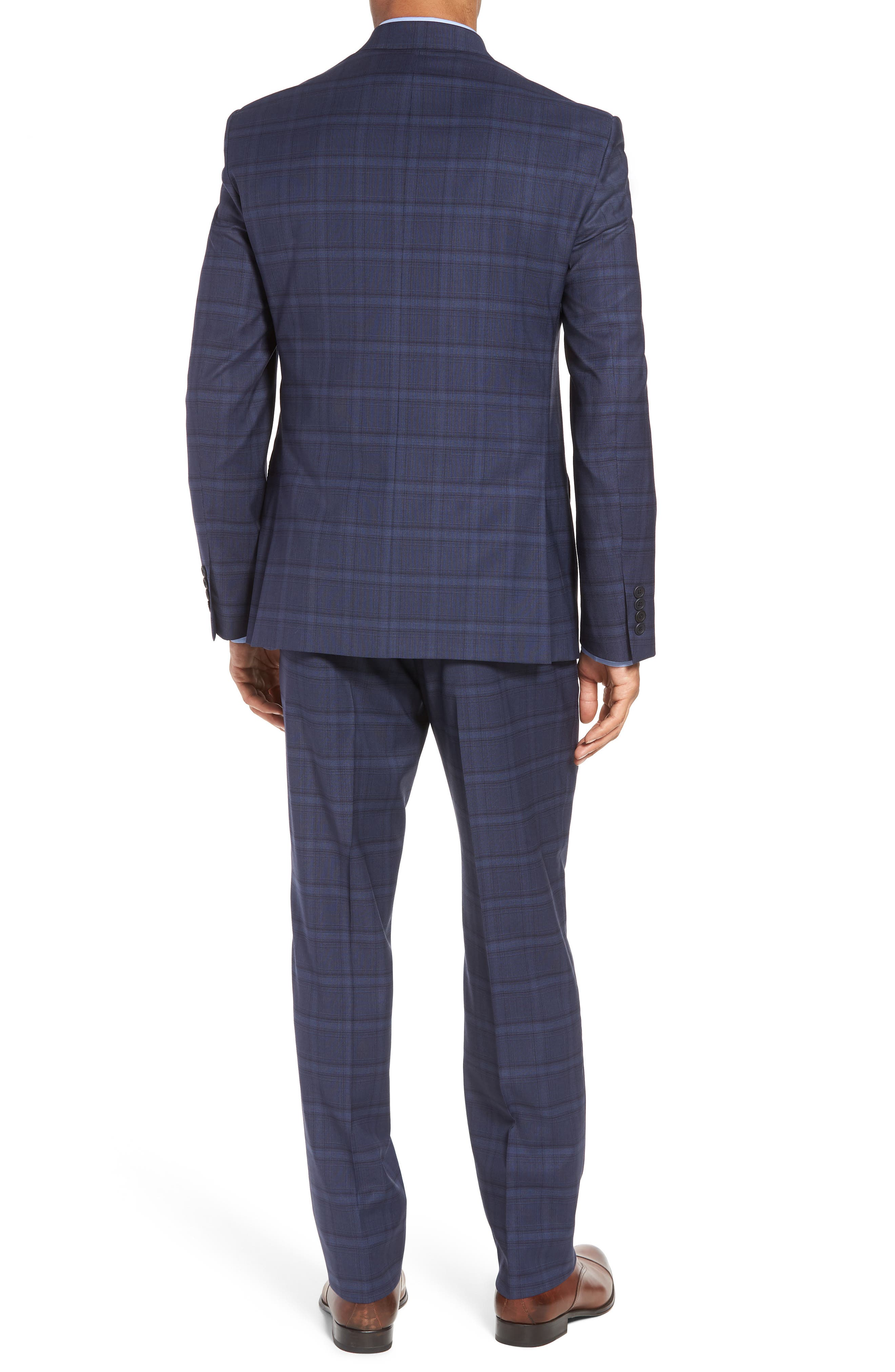 Trim Fit Plaid Stretch Wool Travel Suit,                             Alternate thumbnail 2, color,                             Navy