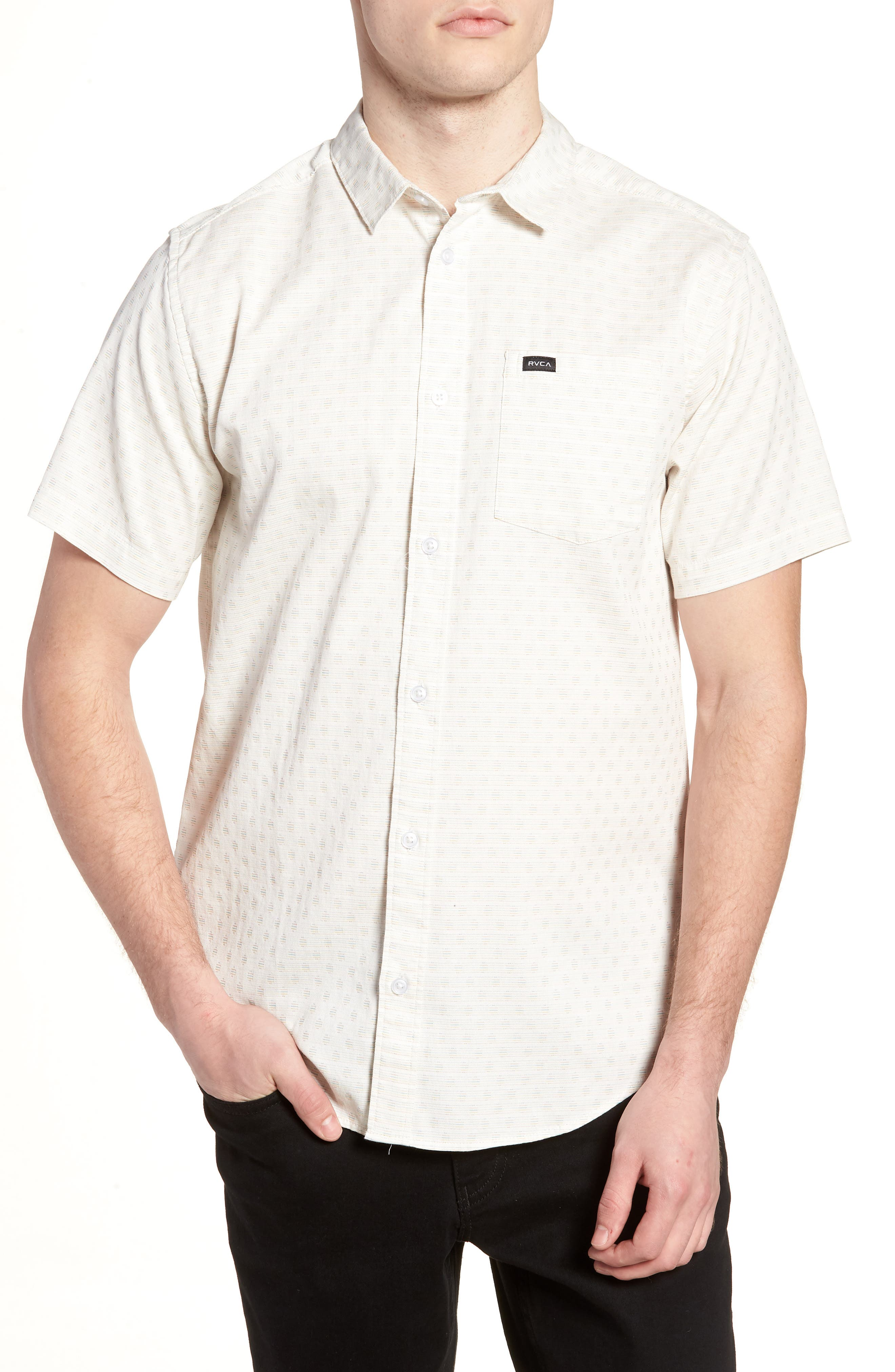 D2 Woven Shirt,                         Main,                         color, Ivory