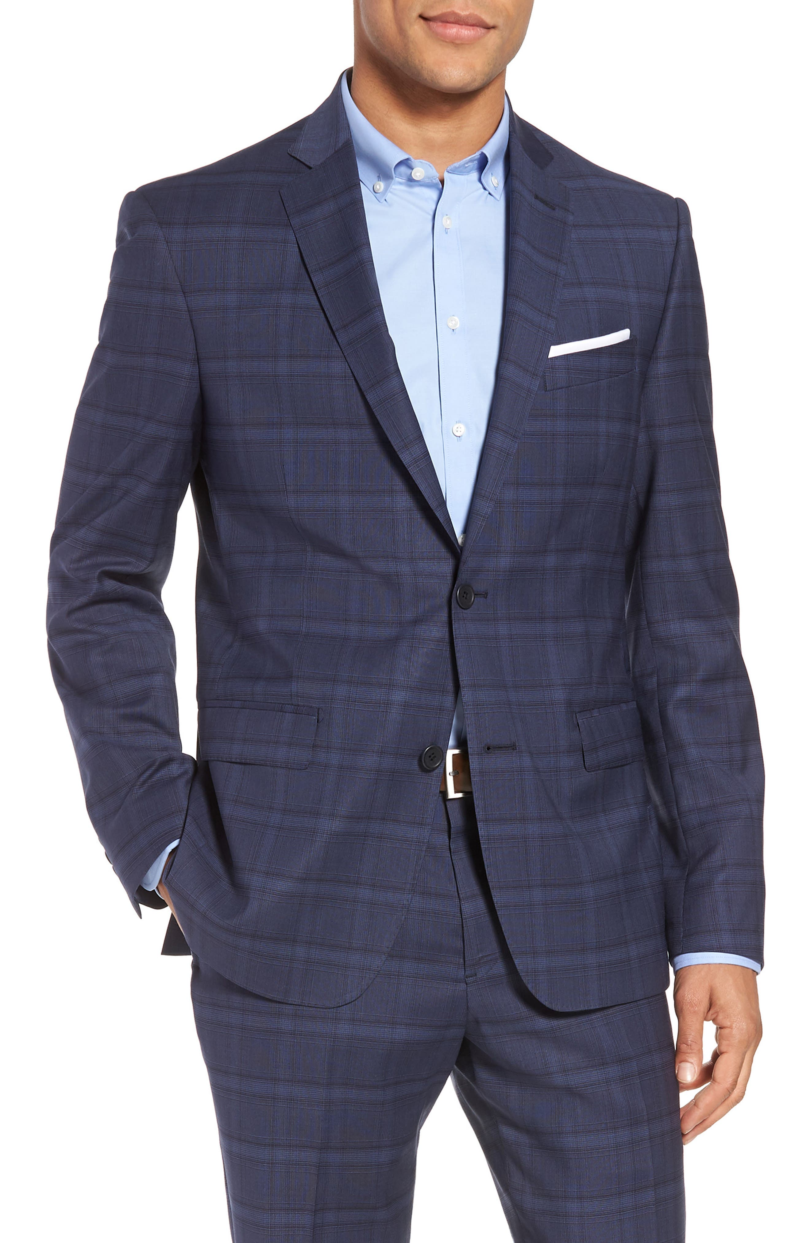 Trim Fit Plaid Stretch Wool Travel Suit,                             Alternate thumbnail 5, color,                             Navy