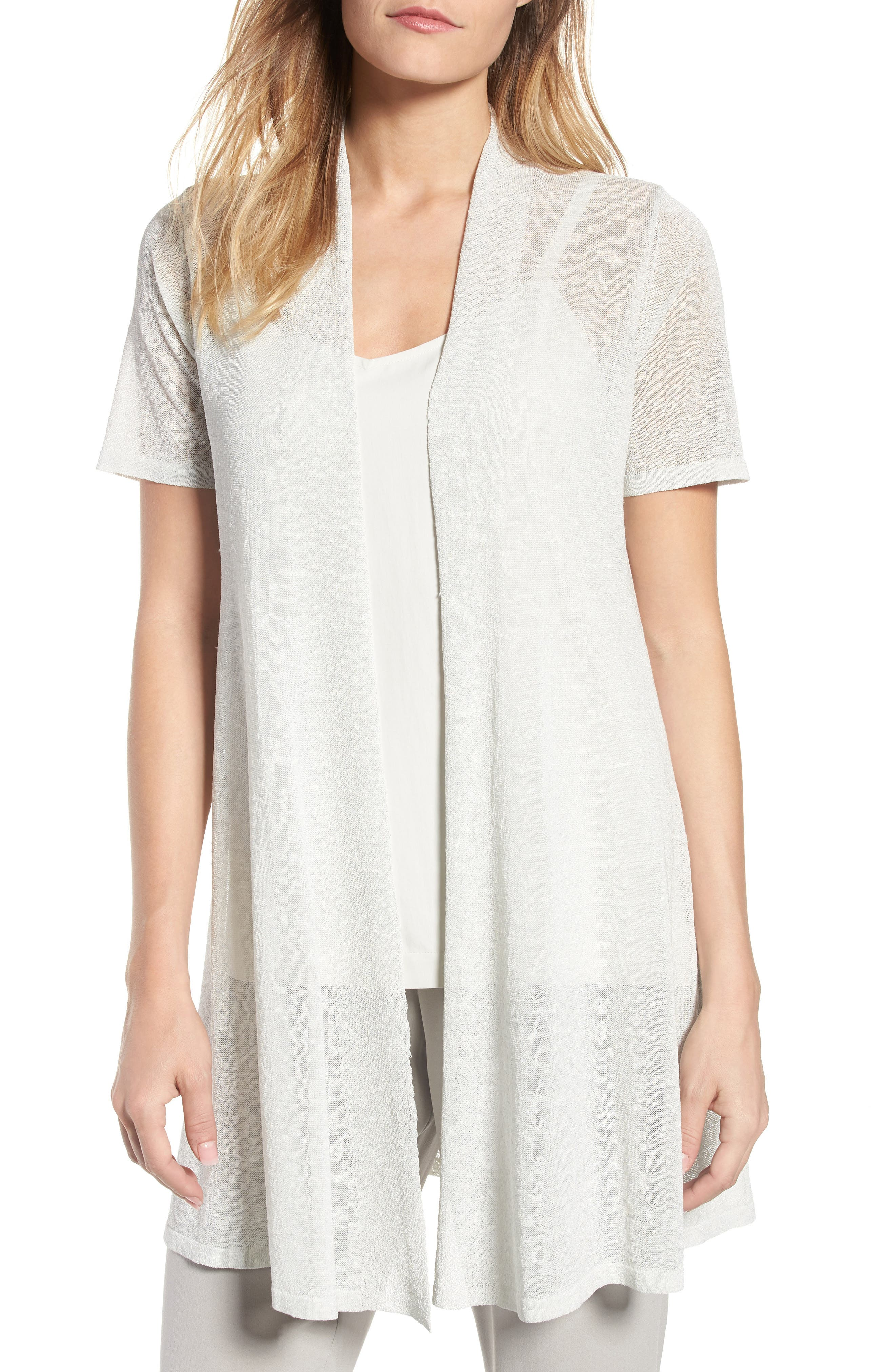 Eileen Fisher Long Organic Linen Blend Cardigan (Regular & Petite)