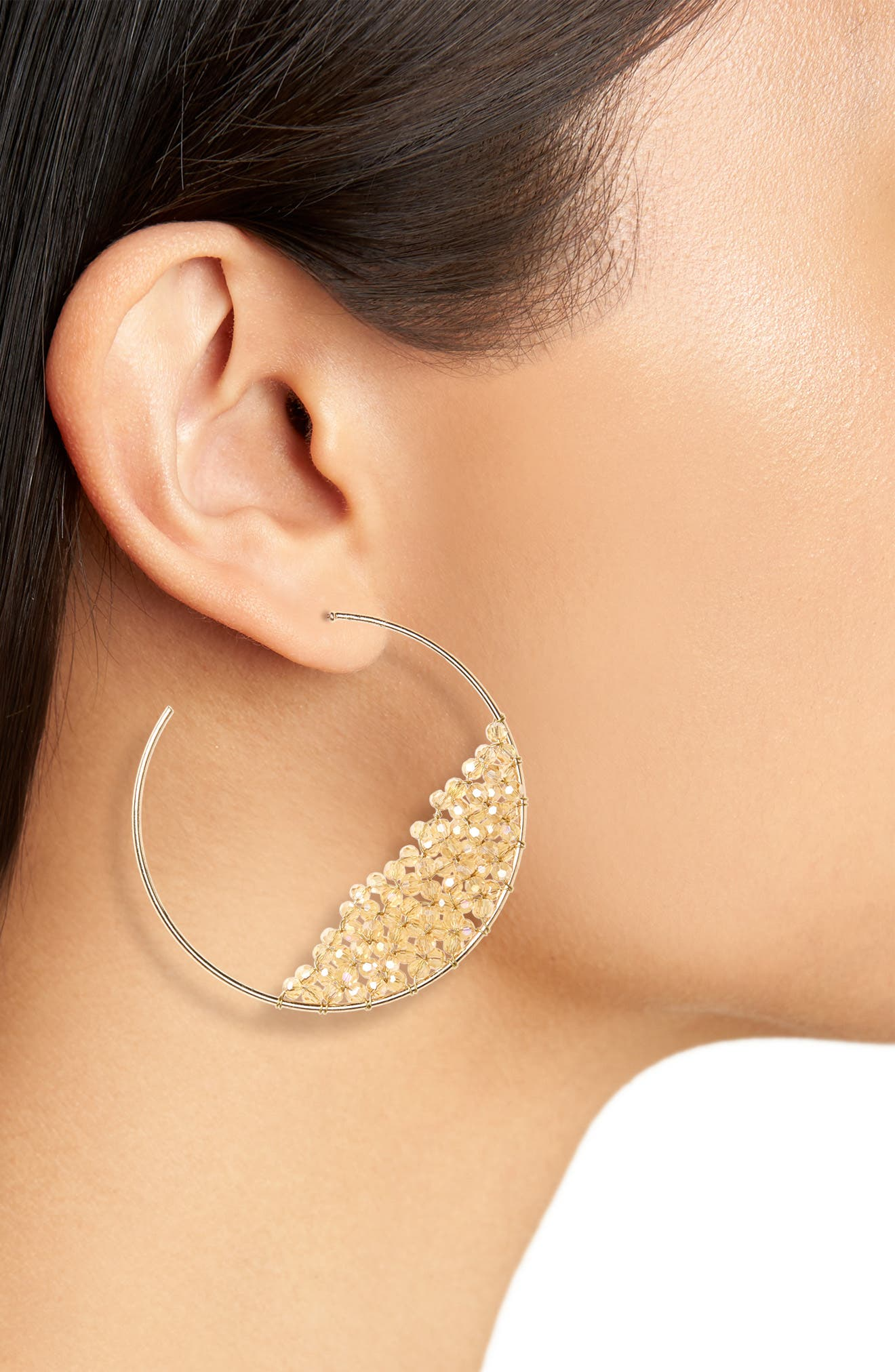 Beaded Hoop Earrings,                             Alternate thumbnail 2, color,                             Topaz