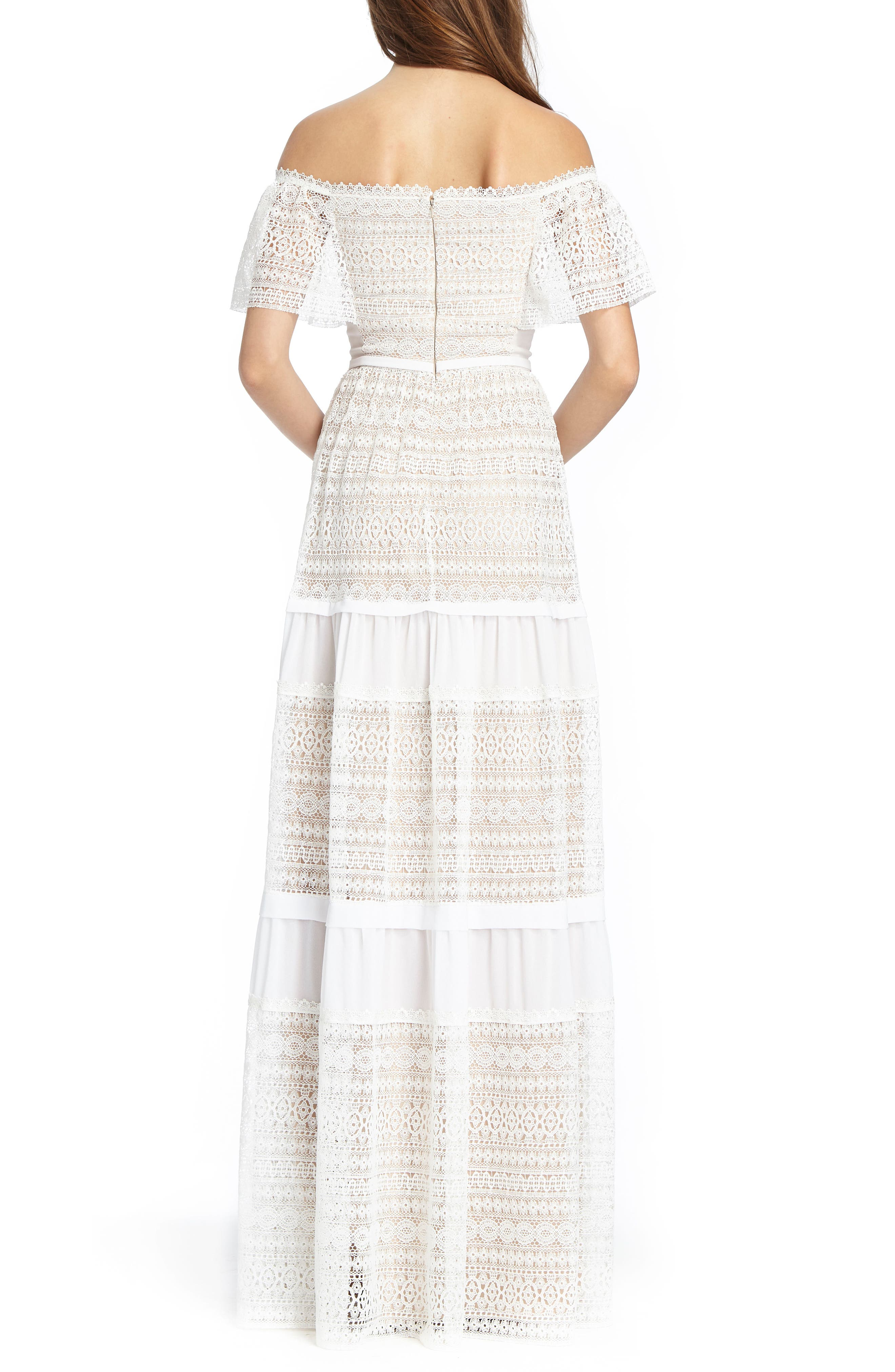 Off the Shoulder Lace Gown,                             Alternate thumbnail 2, color,                             White