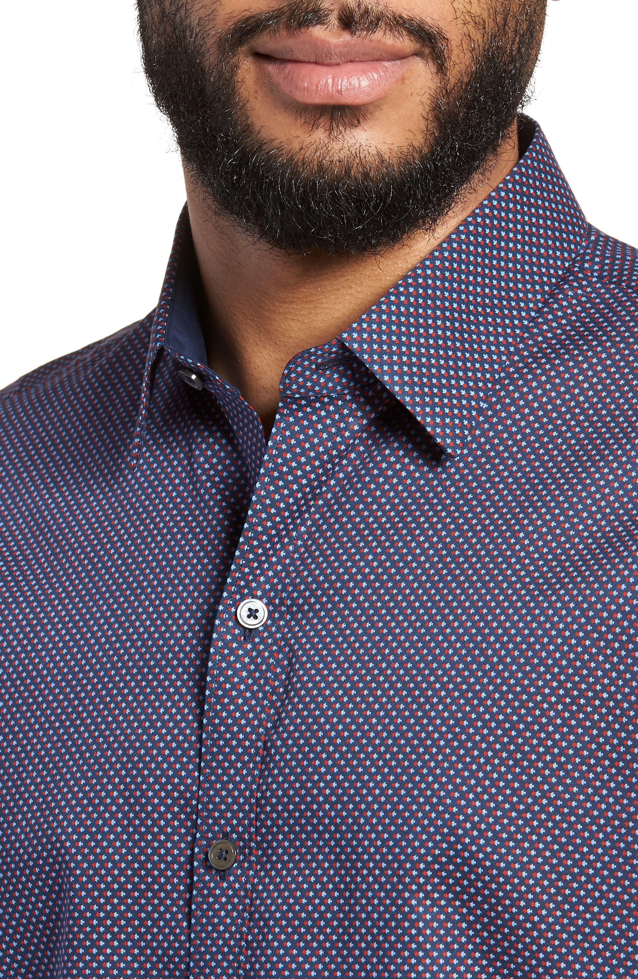 Wilson Geo Print Sport Shirt,                             Alternate thumbnail 4, color,                             Navy