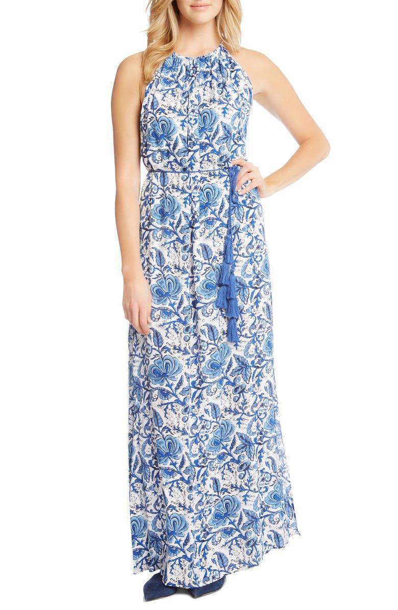 Halter Slit Side Maxi Crepe Dress