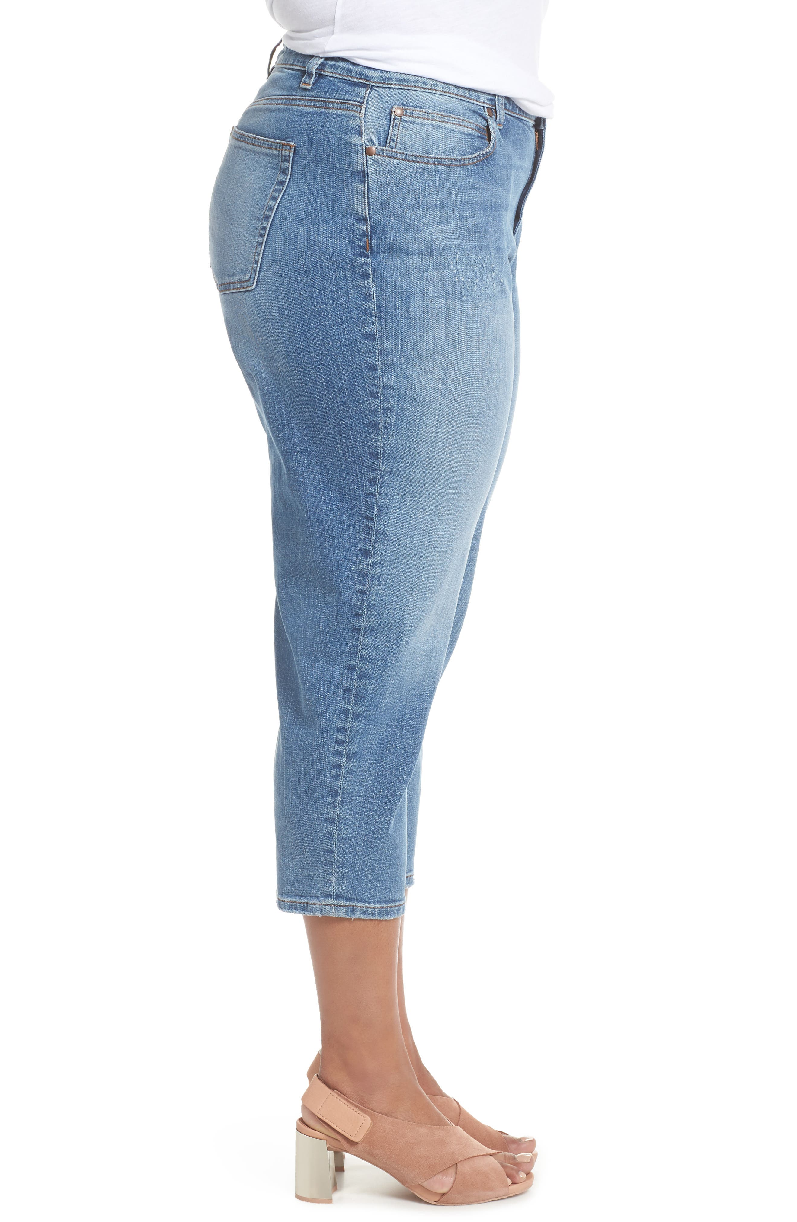 Tapered Crop Jeans,                             Alternate thumbnail 3, color,                             Abraded Sky Blue