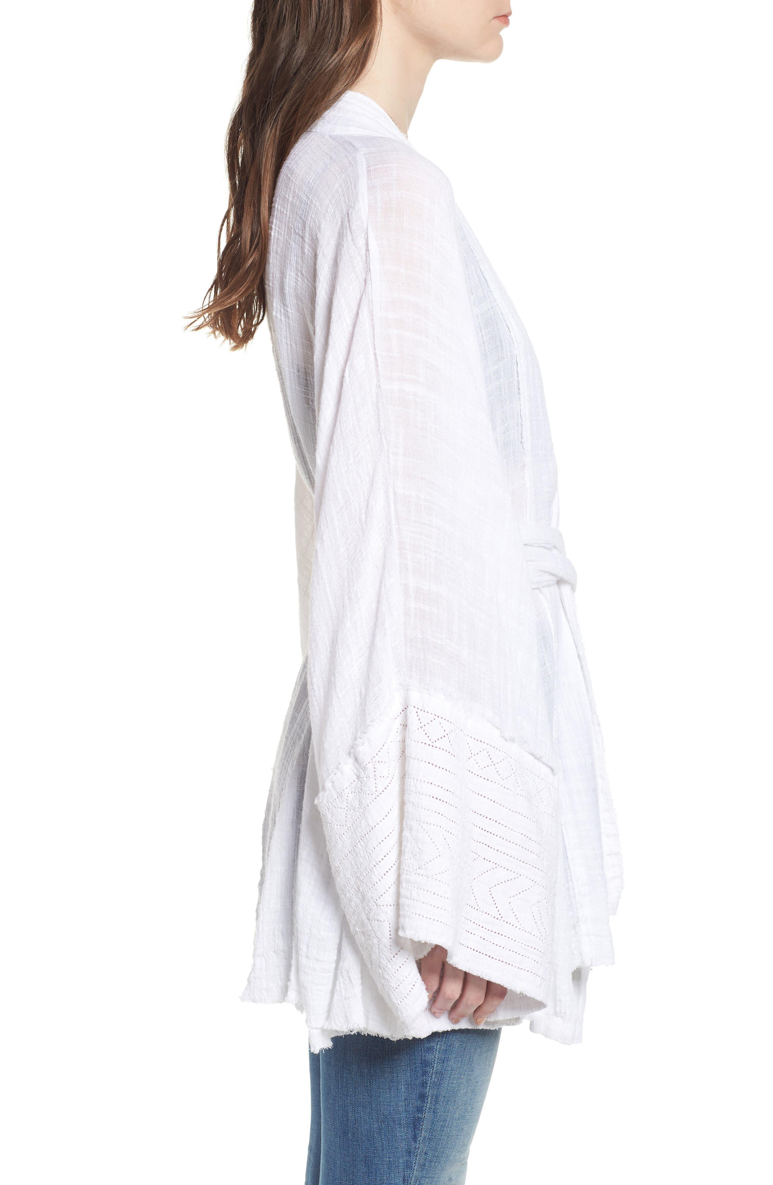 Tie Wrap Kimono,                             Alternate thumbnail 3, color,                             Ivory