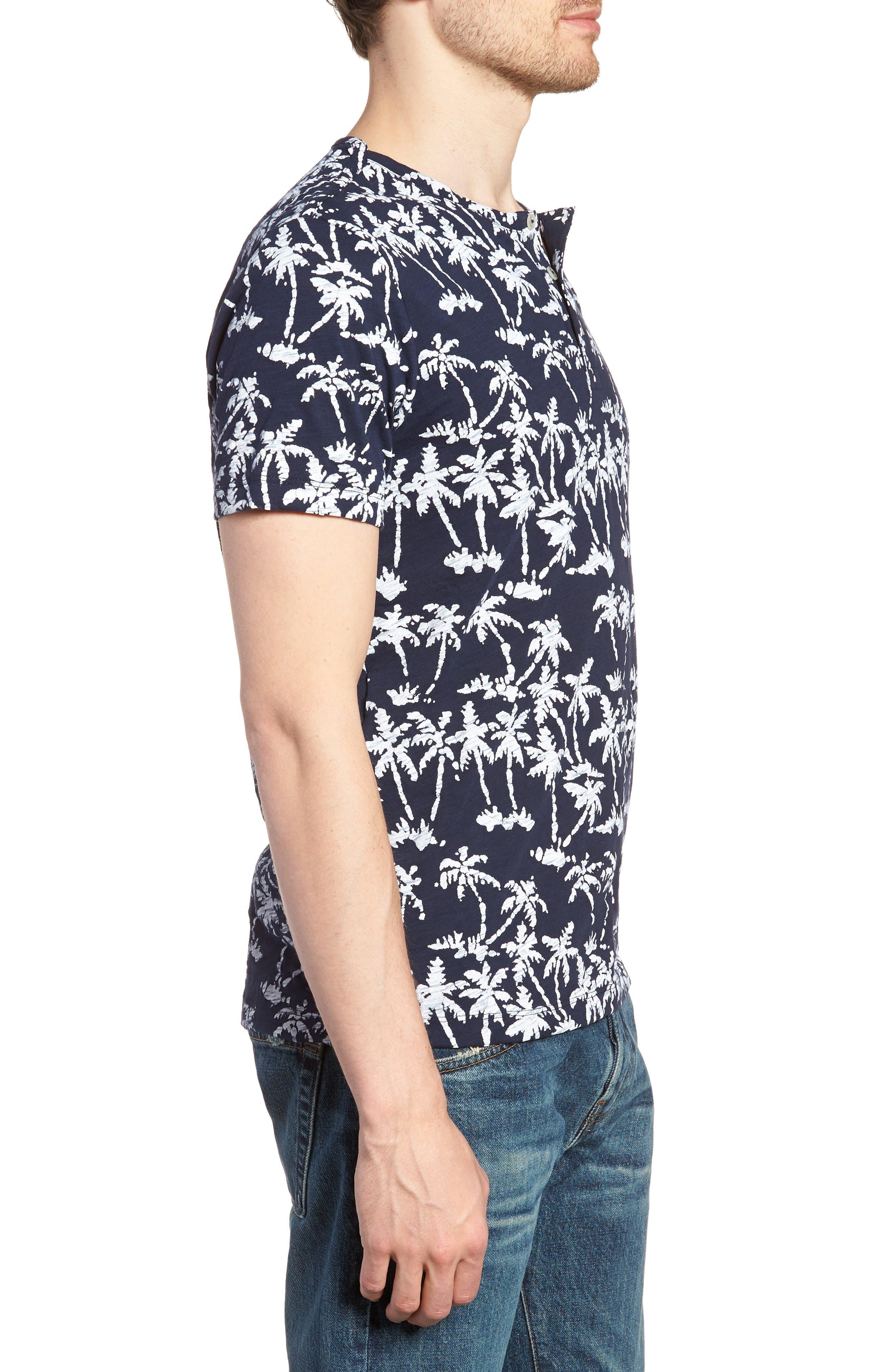 Print Henley T-Shirt,                             Alternate thumbnail 3, color,                             Batik Palms