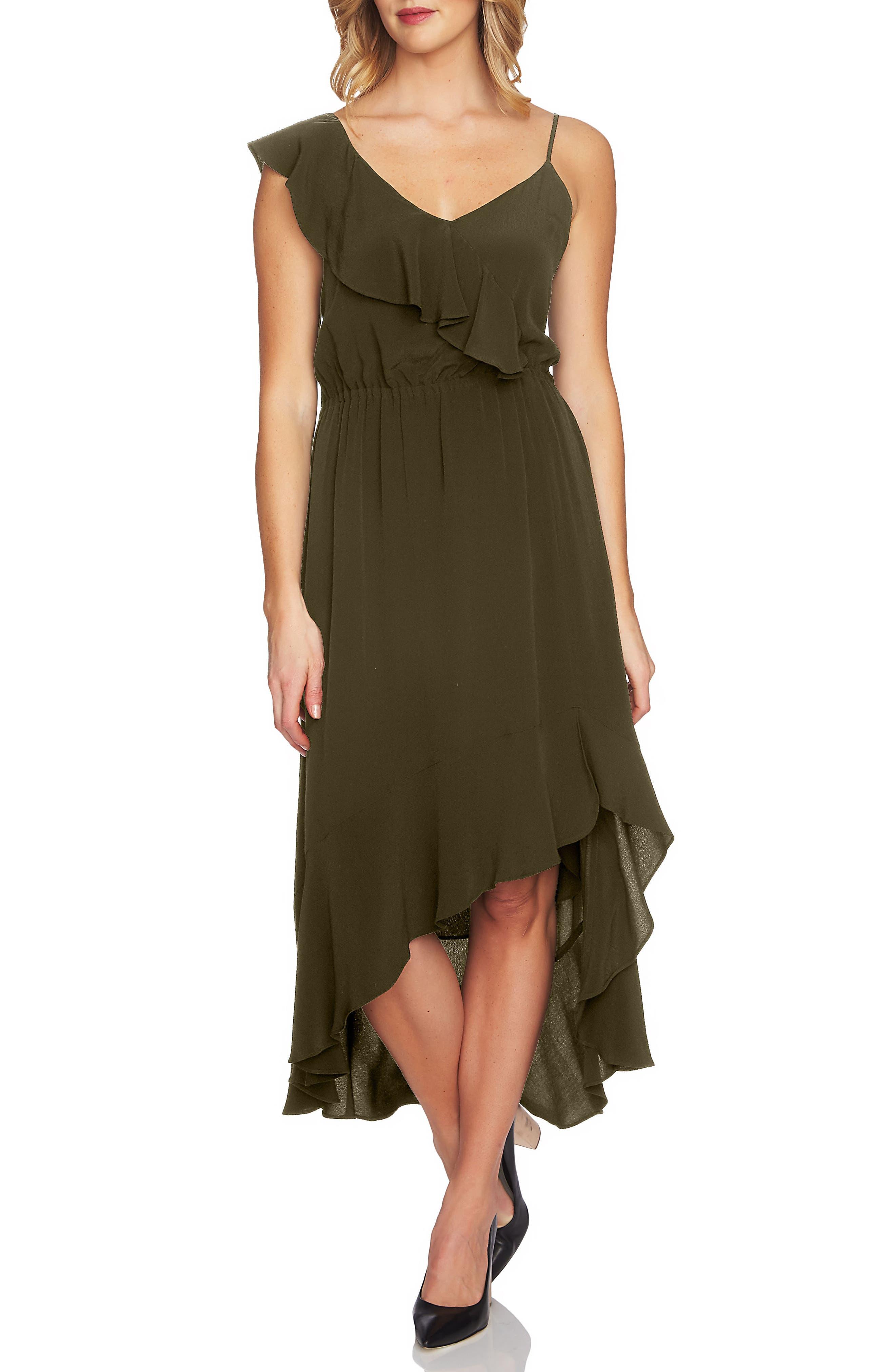Ruffle High/Low Midi Dress,                             Main thumbnail 1, color,                             Olive Tree
