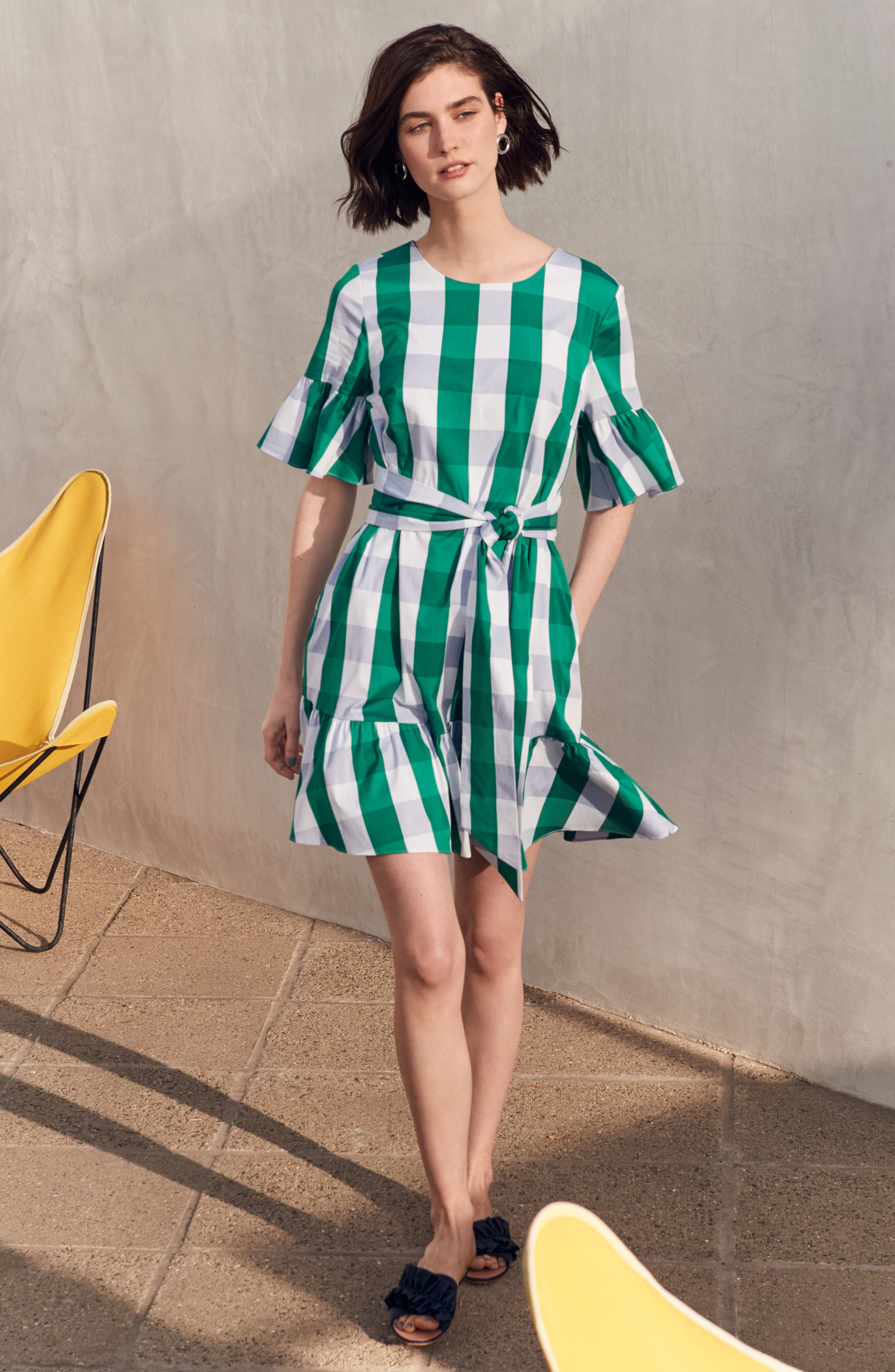 Ruffle & Bow Dress,                             Alternate thumbnail 2, color,                             Green- Blue Gingham