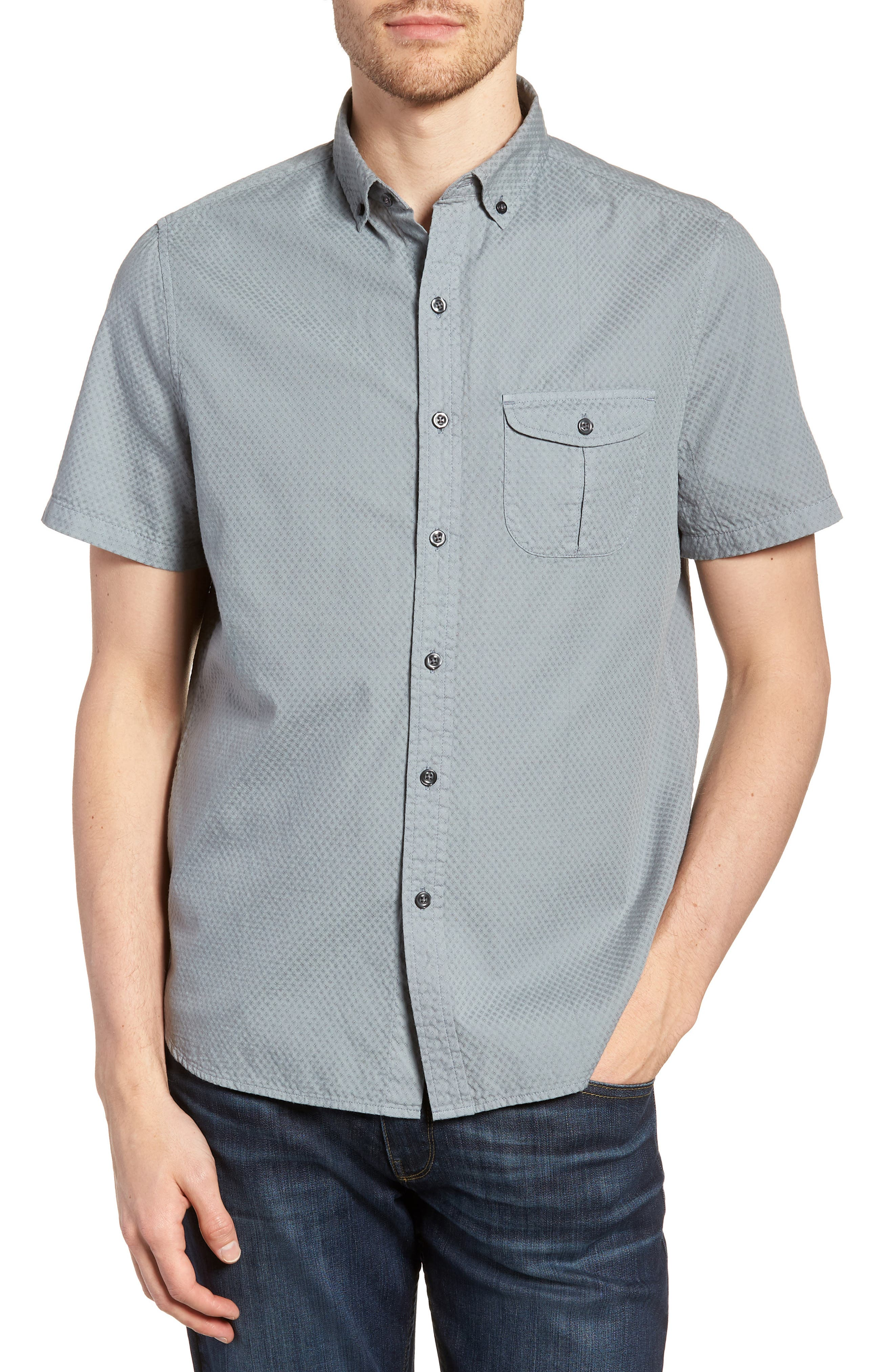 Slim Fit Garment Dyed Sport Shirt,                         Main,                         color, True Gray