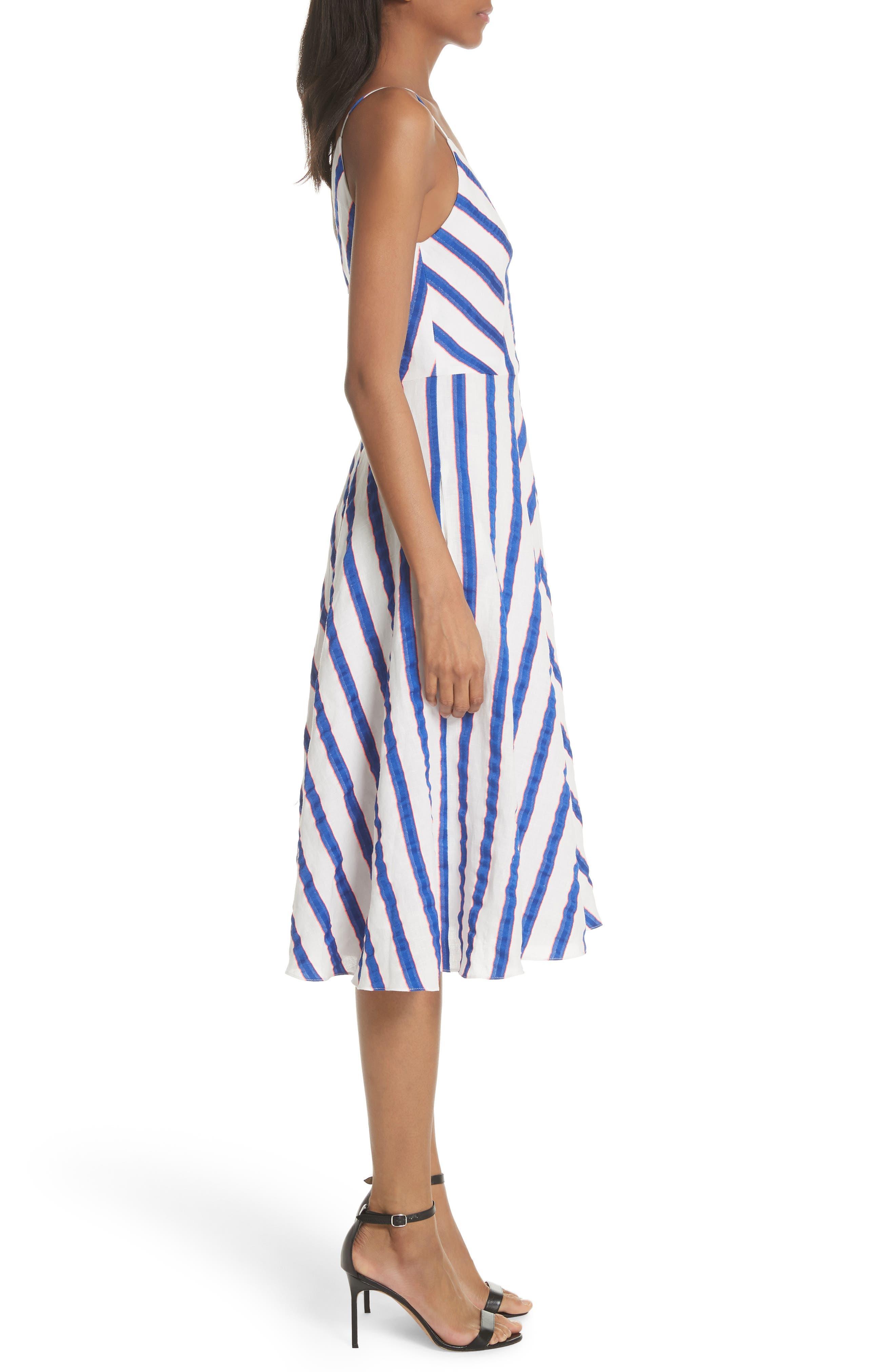 Stripe Washed Linen Blend Sundress,                             Alternate thumbnail 3, color,                             Cobalt