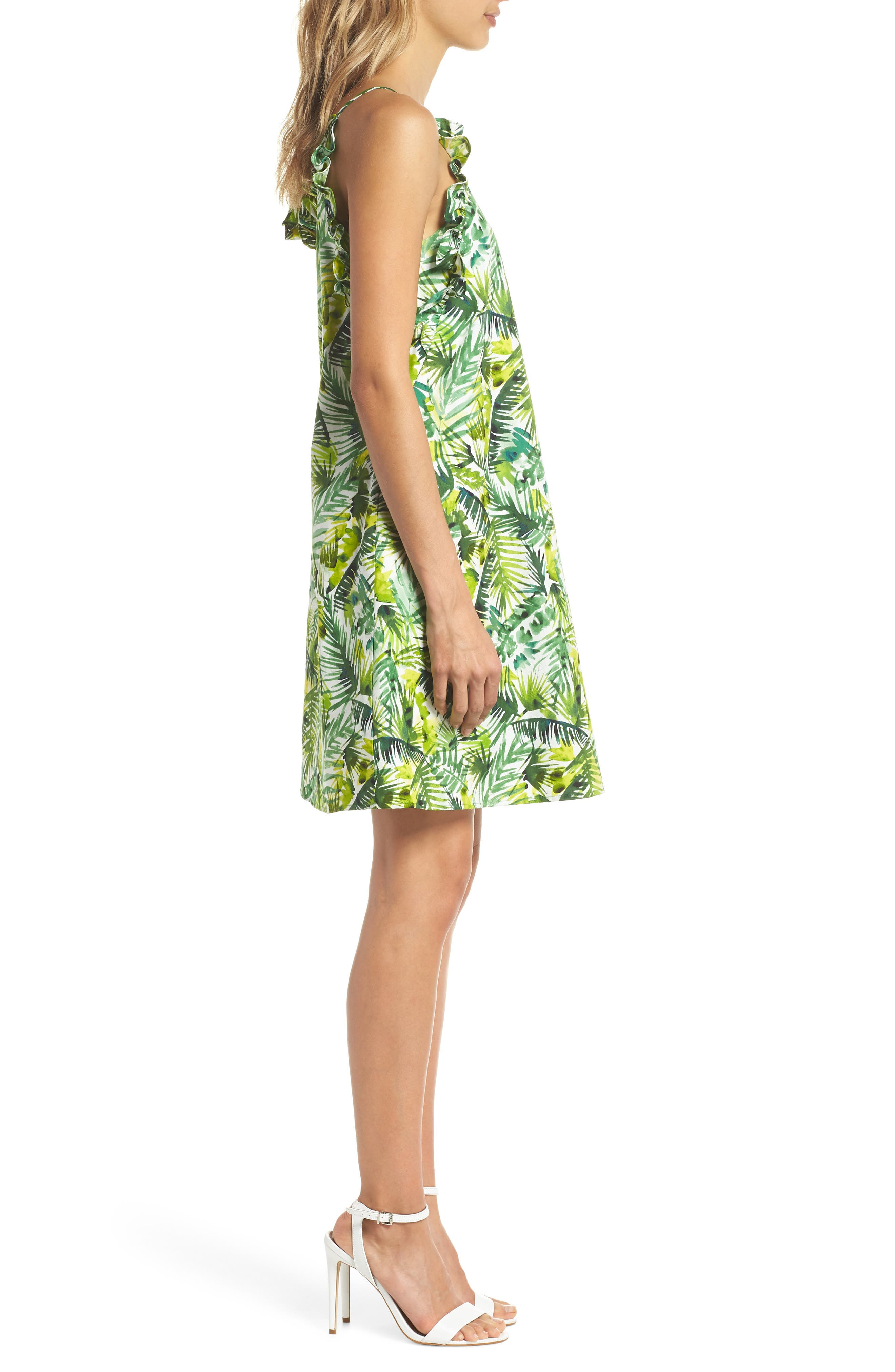 Ruffle Top Shift Dress,                             Alternate thumbnail 3, color,                             Soft White/ Green