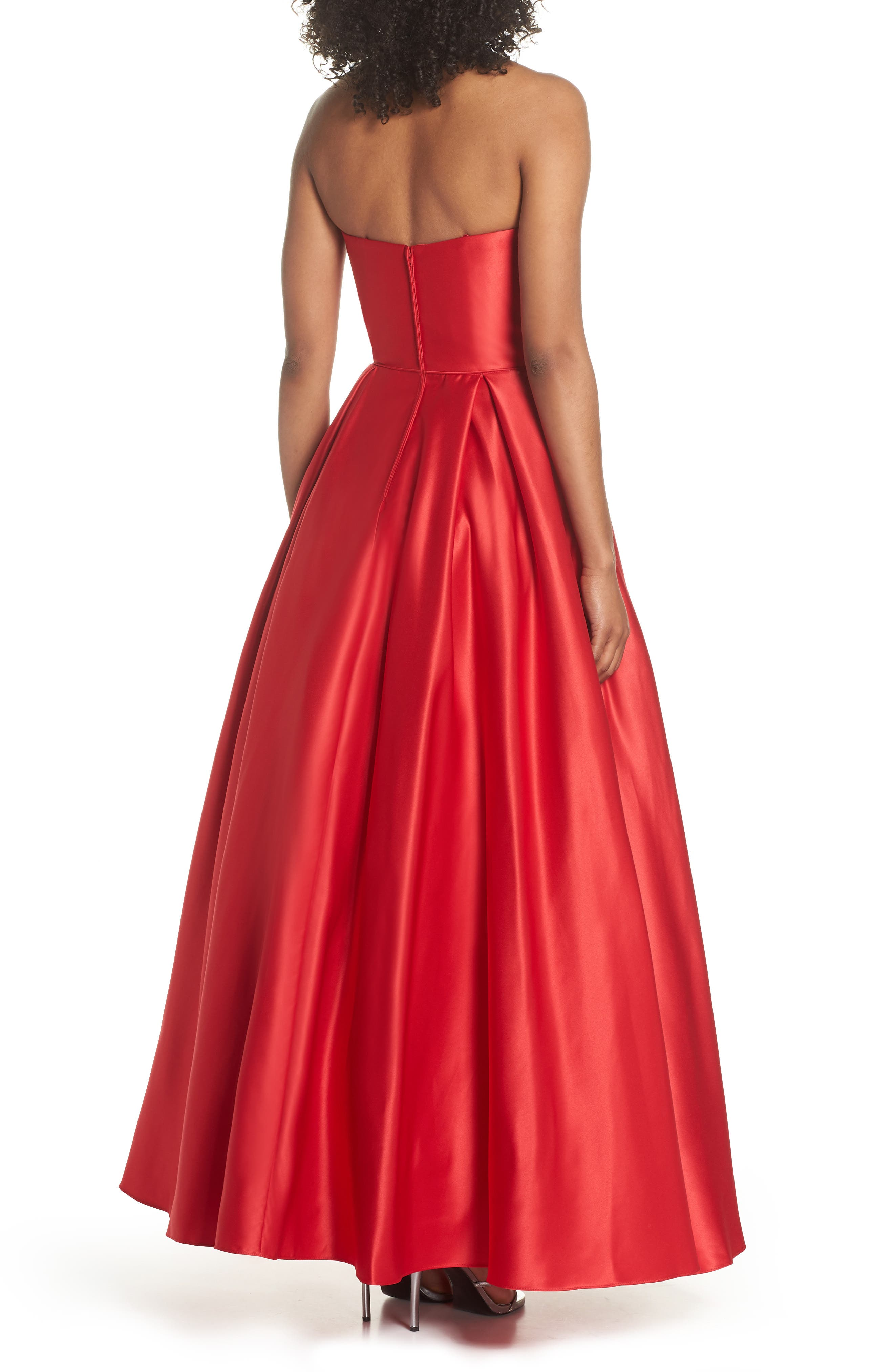 Embellished Strapless Ballgown,                             Alternate thumbnail 2, color,                             Red