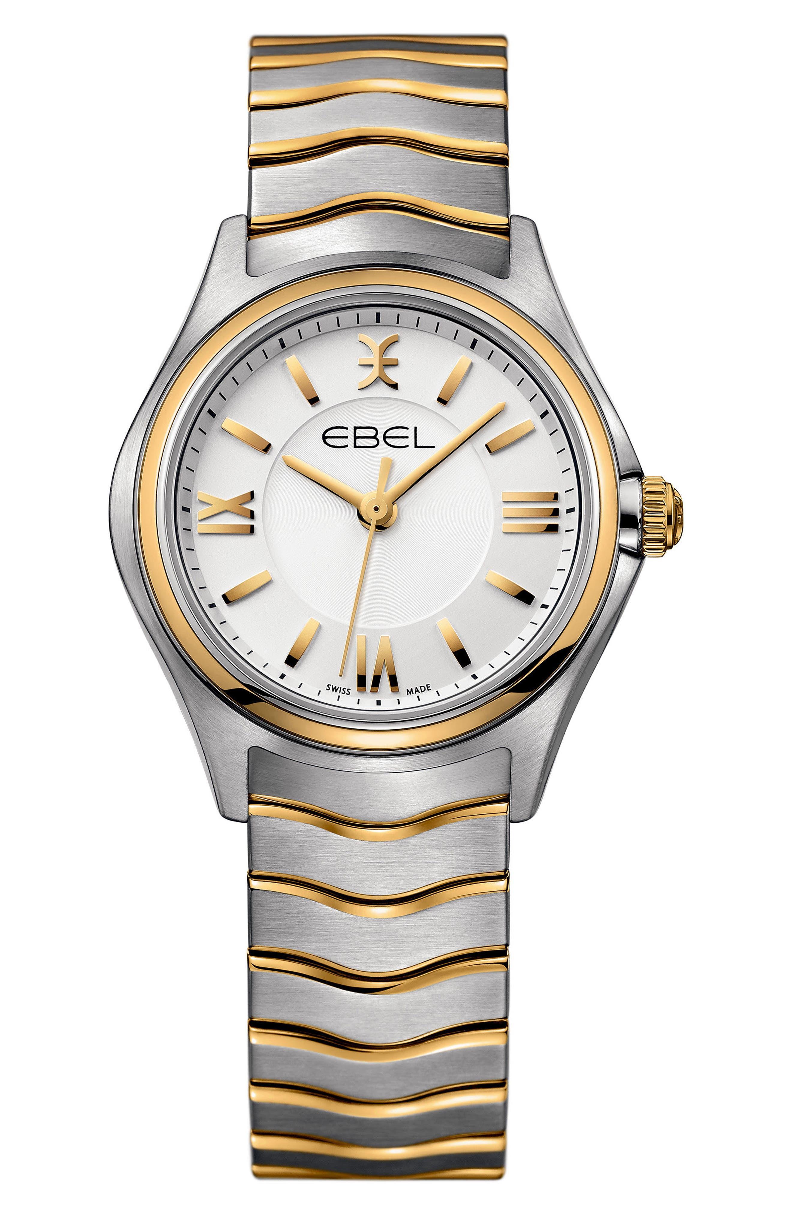Wave Bracelet Watch, 30mm,                             Main thumbnail 1, color,                             Silver/ Gold