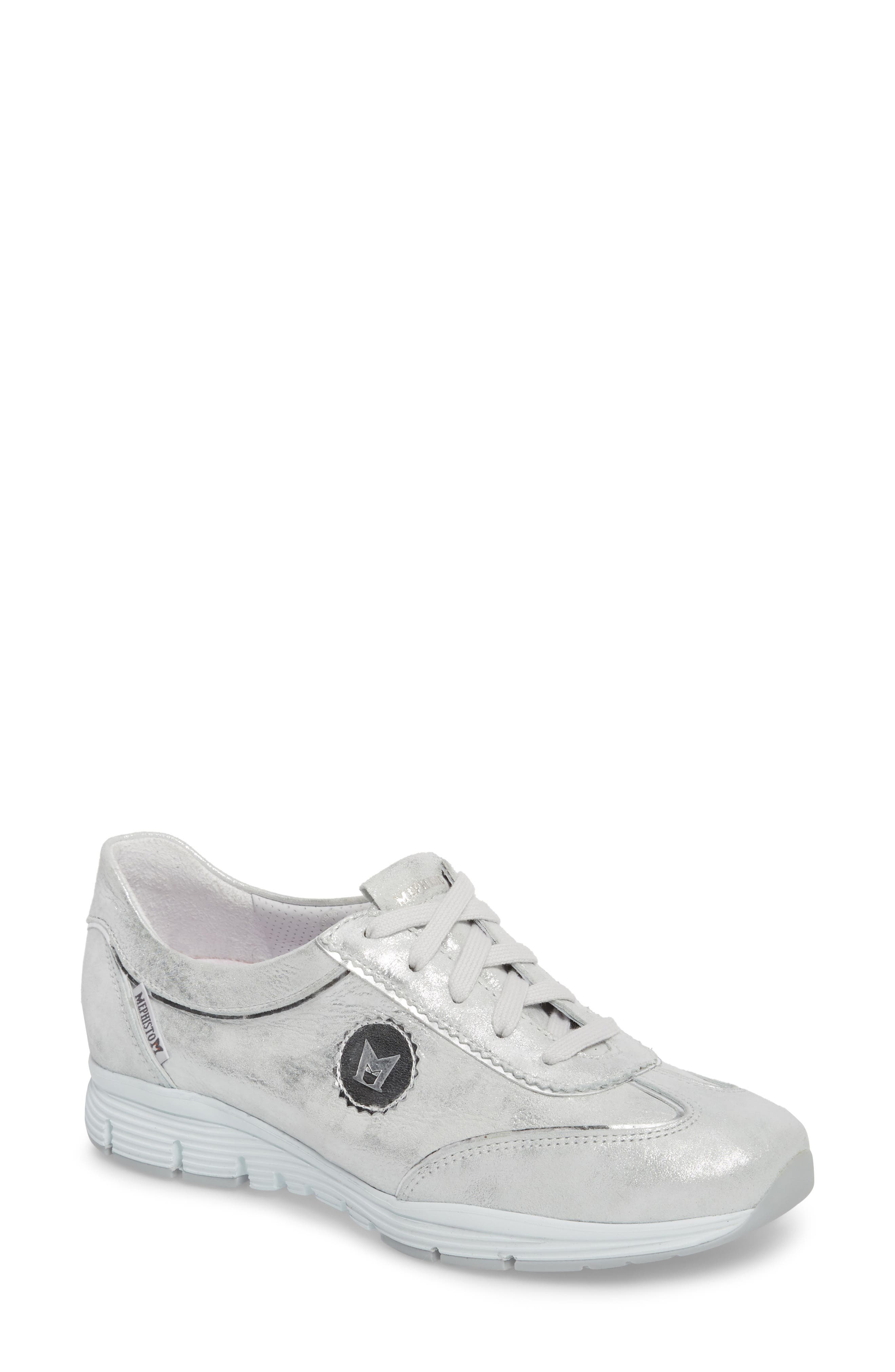 'Yael' Soft-Air Sneaker,                             Main thumbnail 1, color,                             Silver Leather