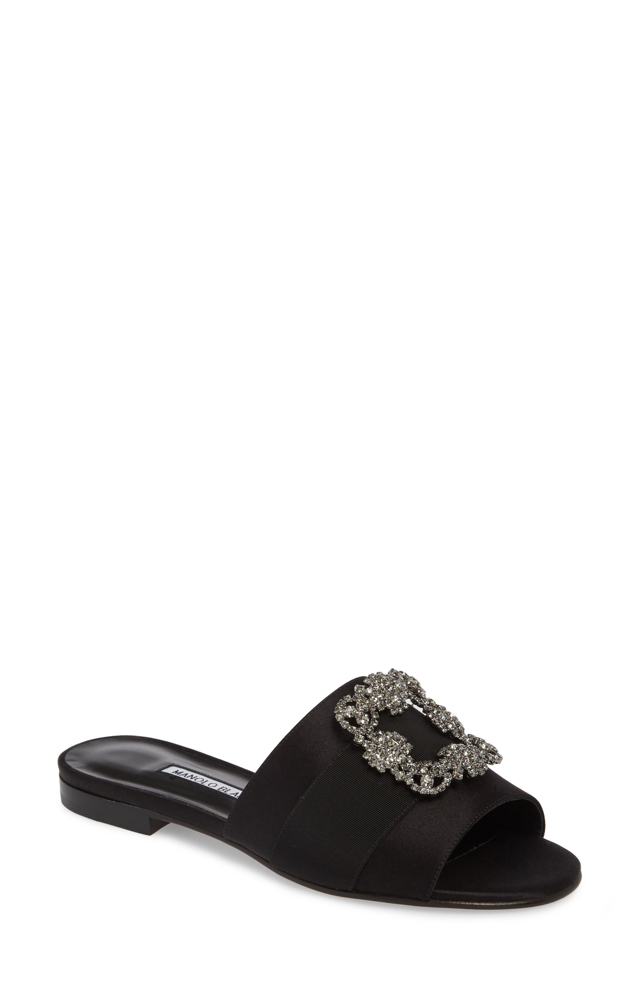Martamod Crystal Embellished Slide Sandal,                             Main thumbnail 1, color,                             Black Satin