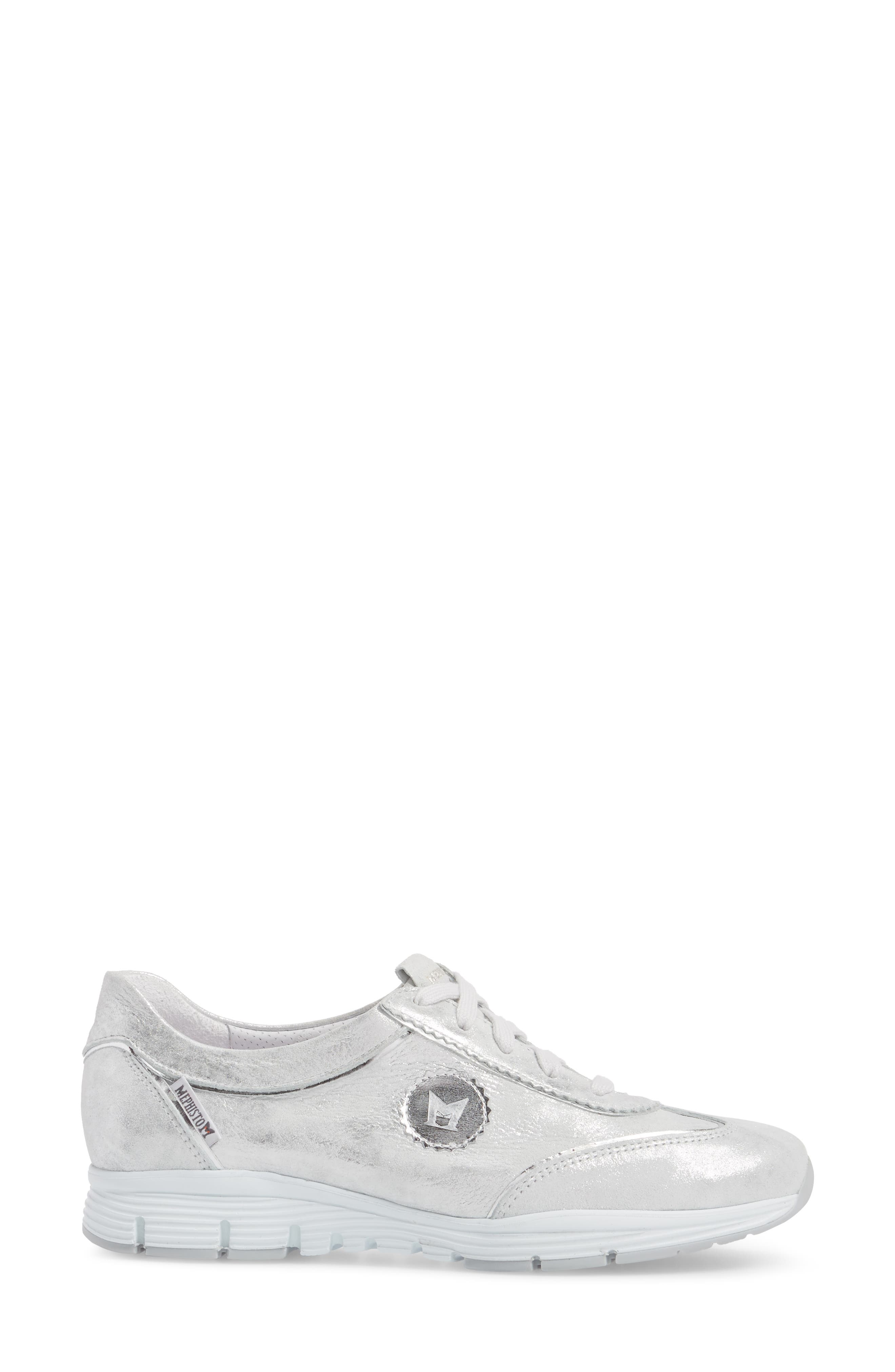 'Yael' Soft-Air Sneaker,                             Alternate thumbnail 3, color,                             Silver Leather