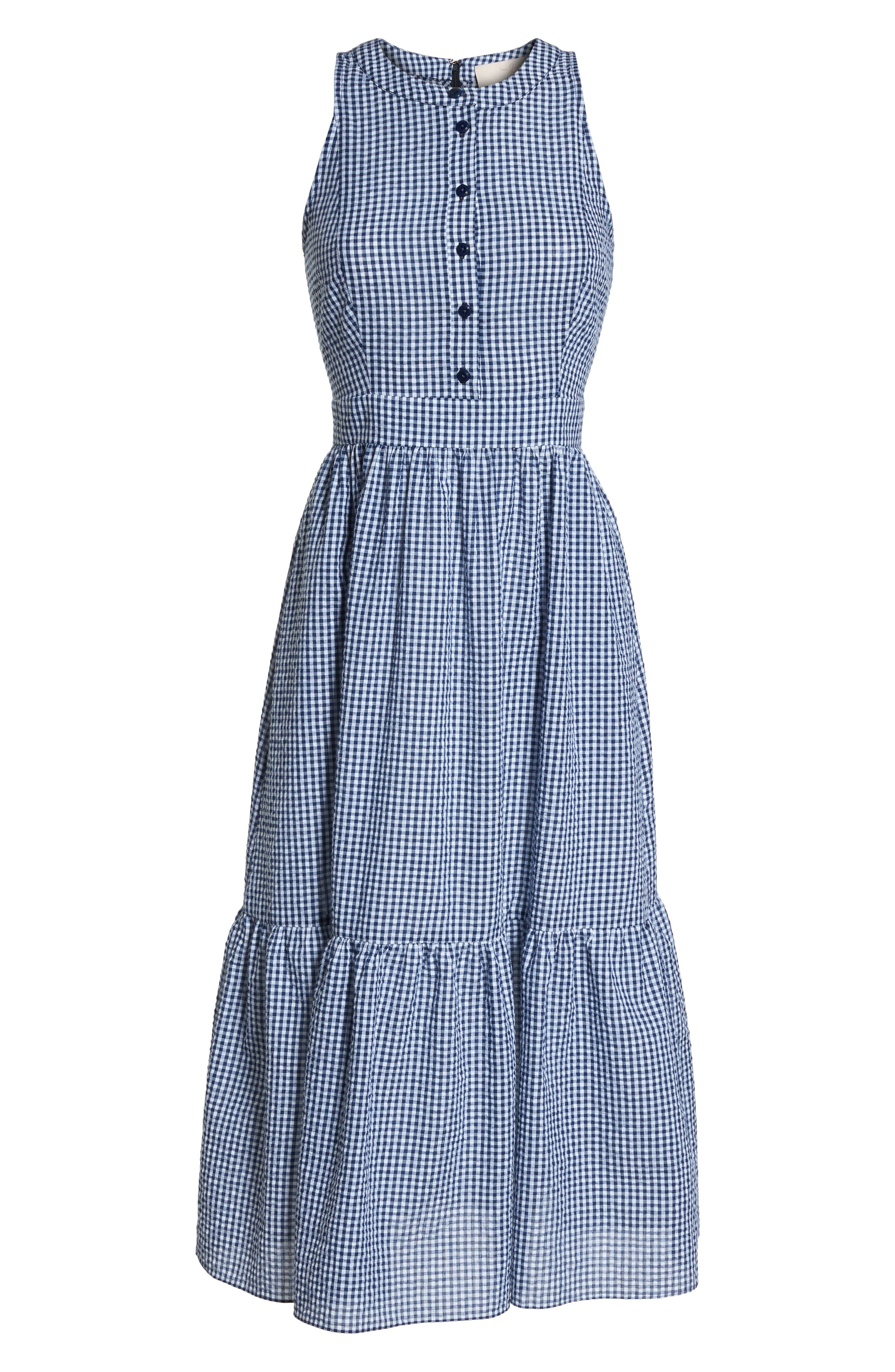Ardith Gingham Fit & Flare Midi Dress,                             Alternate thumbnail 8, color,                             Blue/ White