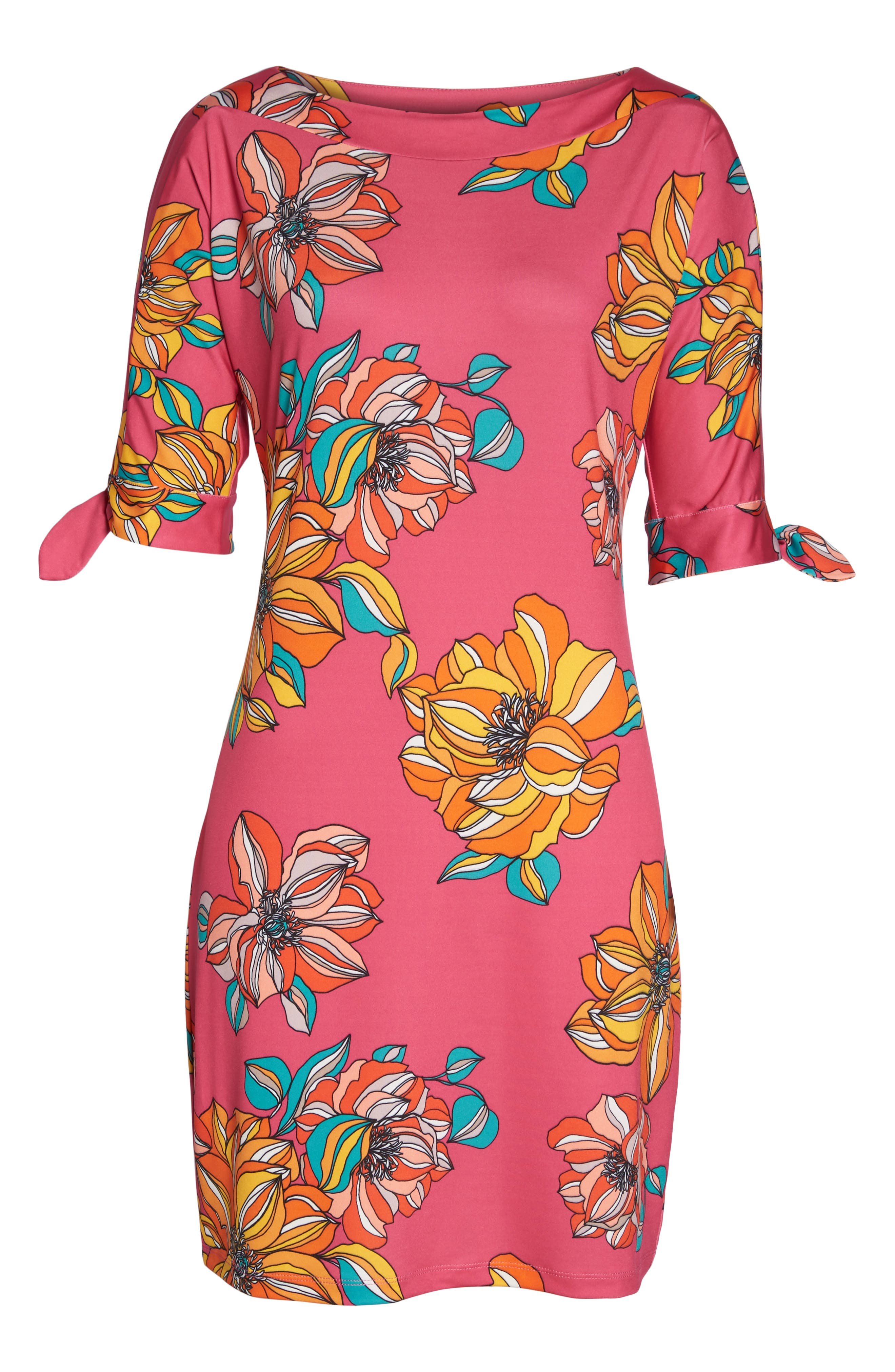 Vinet Floral Jersey Dress,                             Alternate thumbnail 6, color,                             Peony