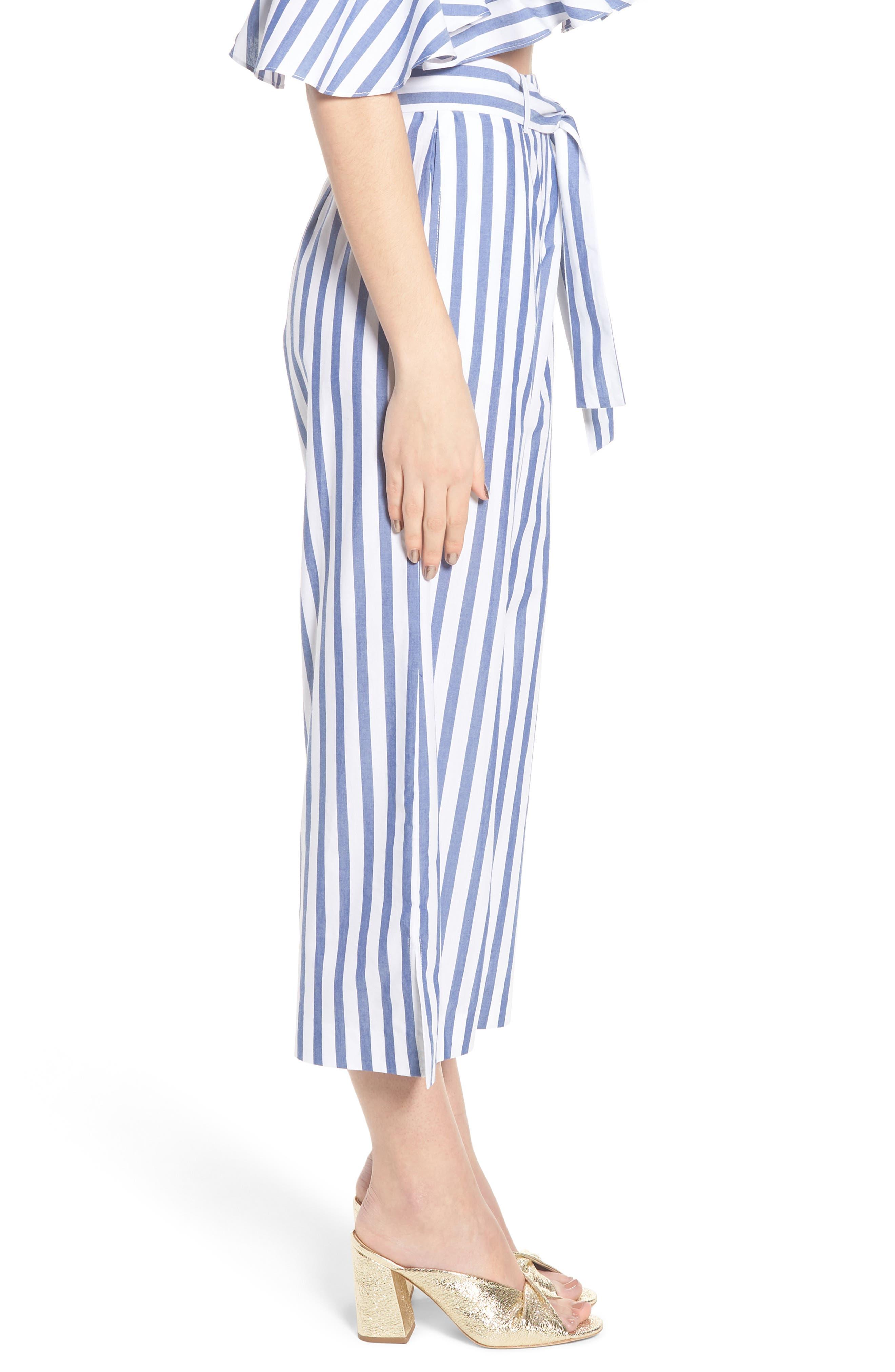 Aversa Crop Wide Leg Pants,                             Alternate thumbnail 4, color,                             Navy Stripe