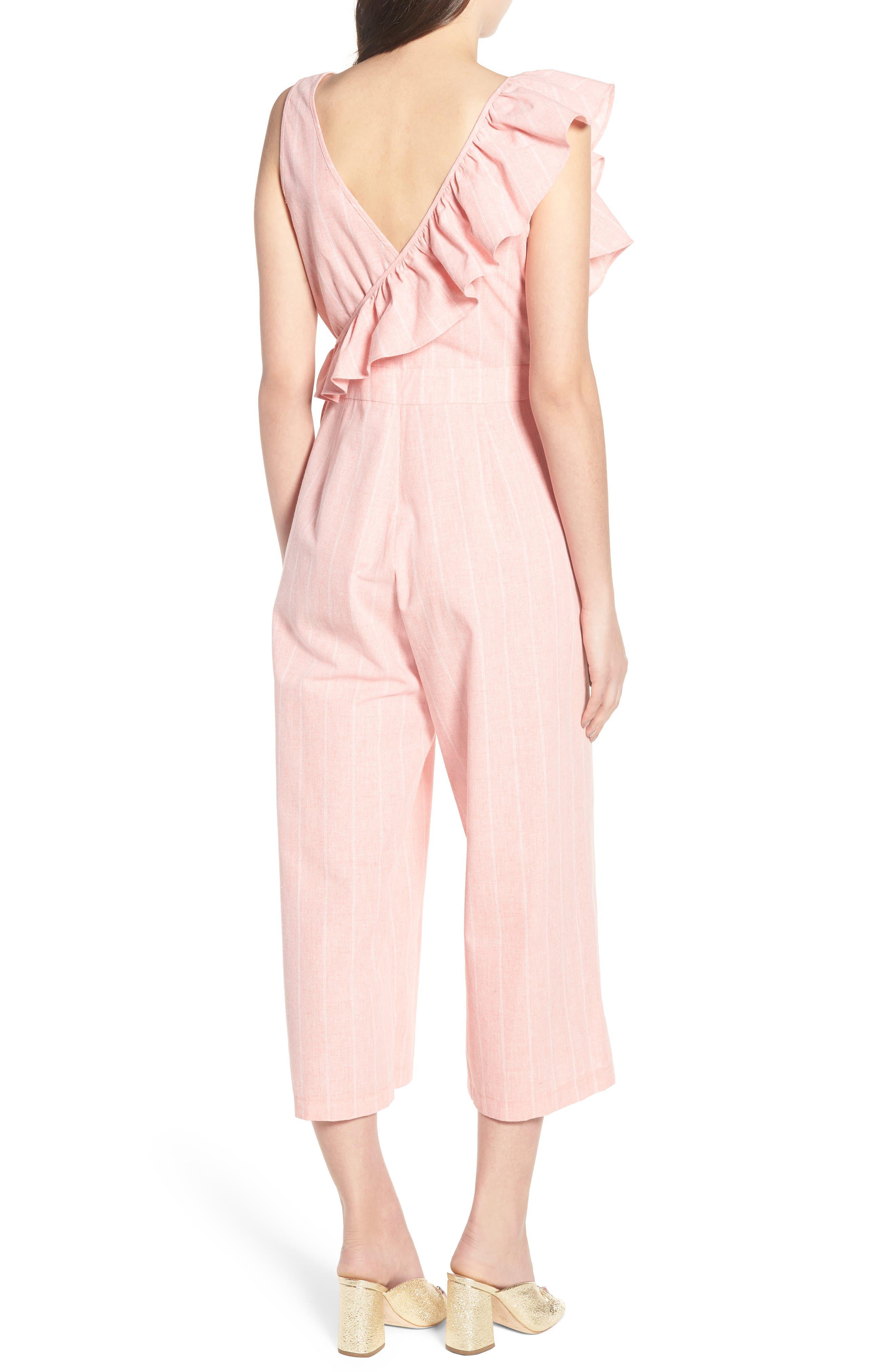 Frill Shoulder Stripe Jumpsuit,                             Alternate thumbnail 3, color,                             Pink