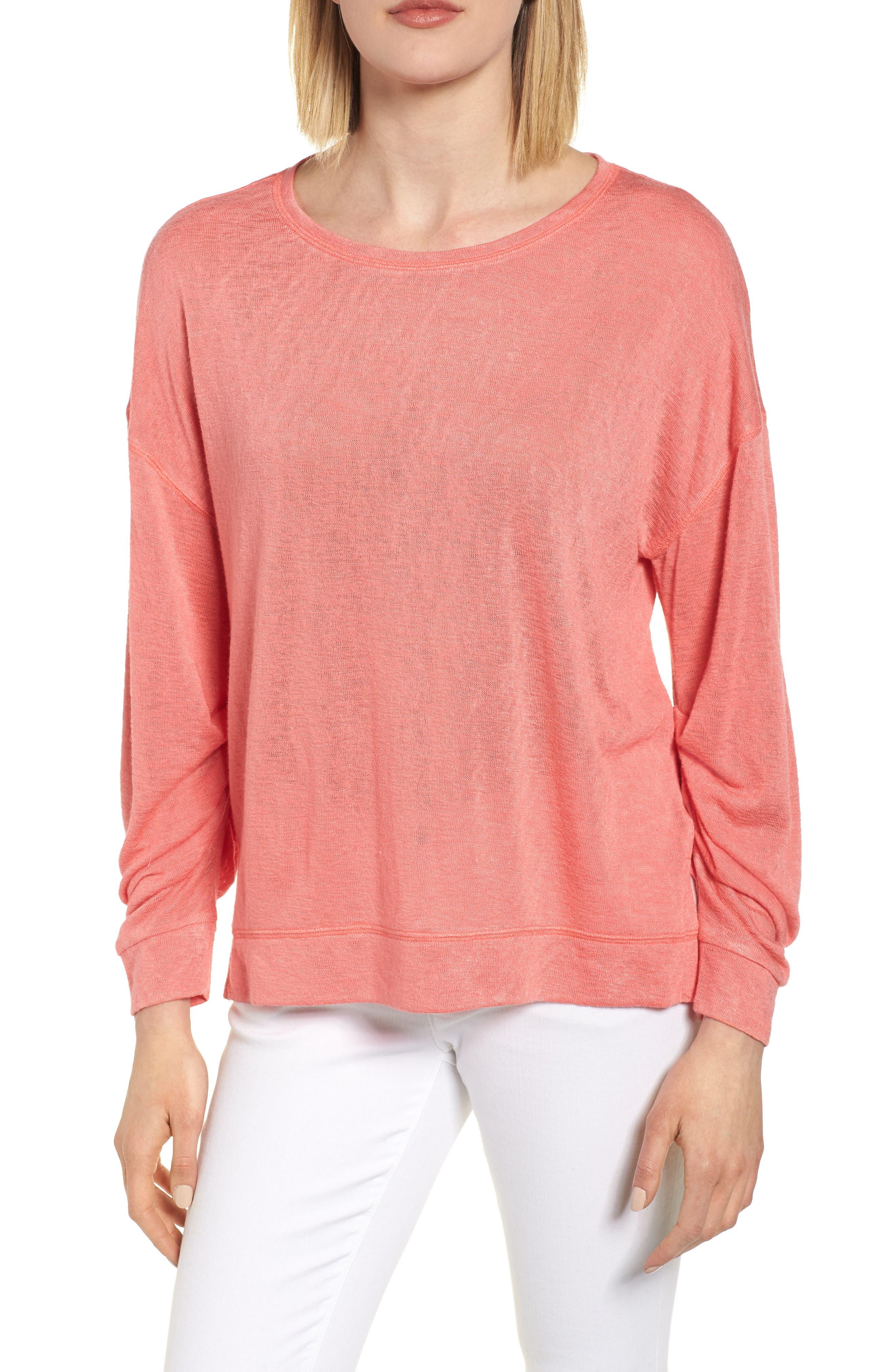 Tuck Sleeve Sweatshirt,                             Main thumbnail 1, color,                             Coral Rose