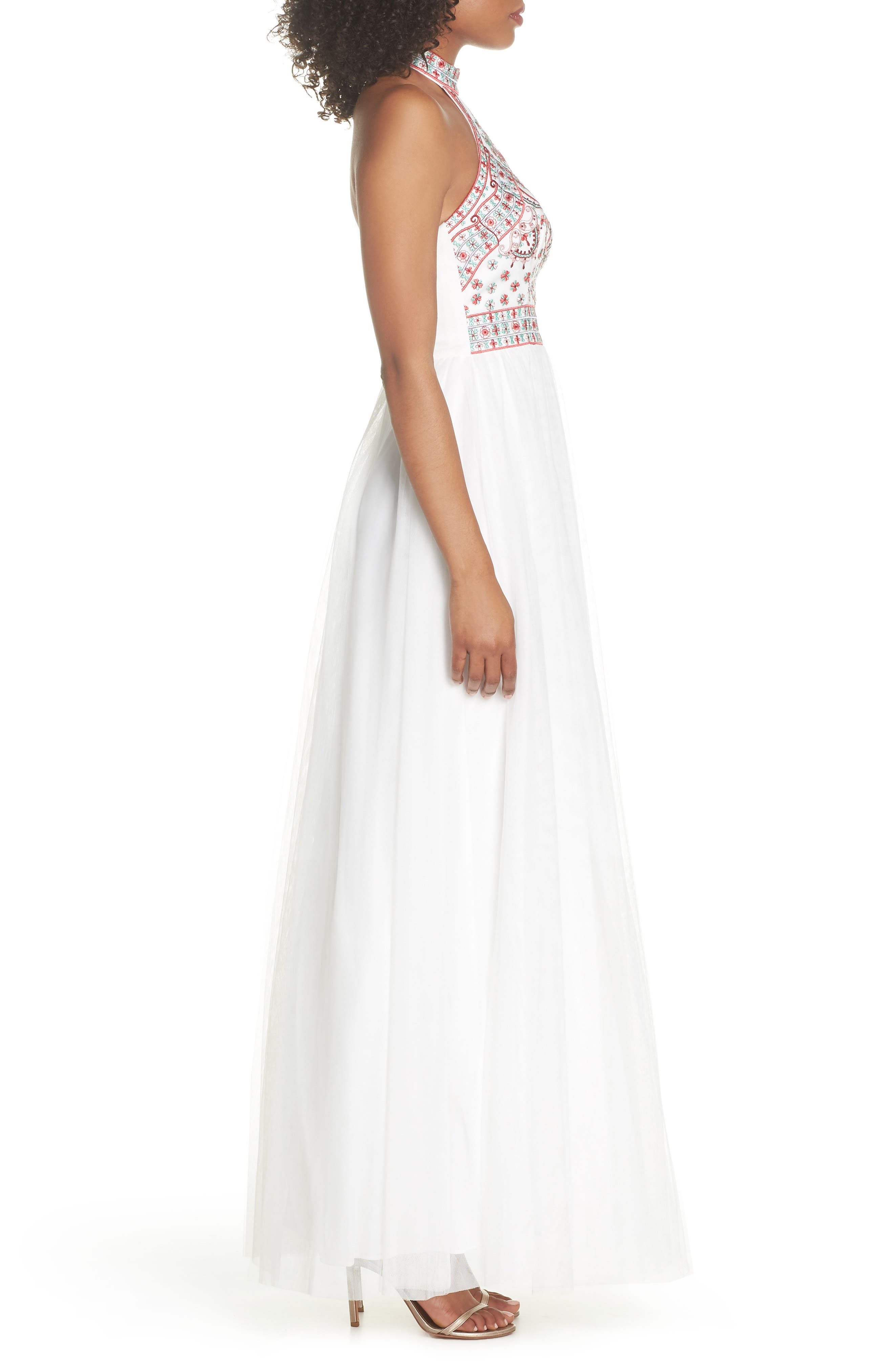 Embroidered Halter Gown,                             Alternate thumbnail 3, color,                             Ivory/ Multi