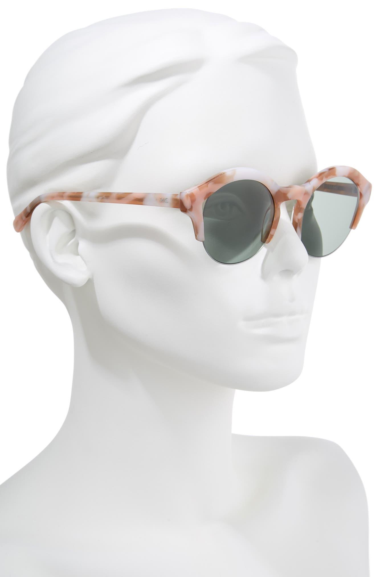 Bren 51mm Half-Rim Sunglasses,                             Alternate thumbnail 2, color,                             Pink/ Tortoise Green