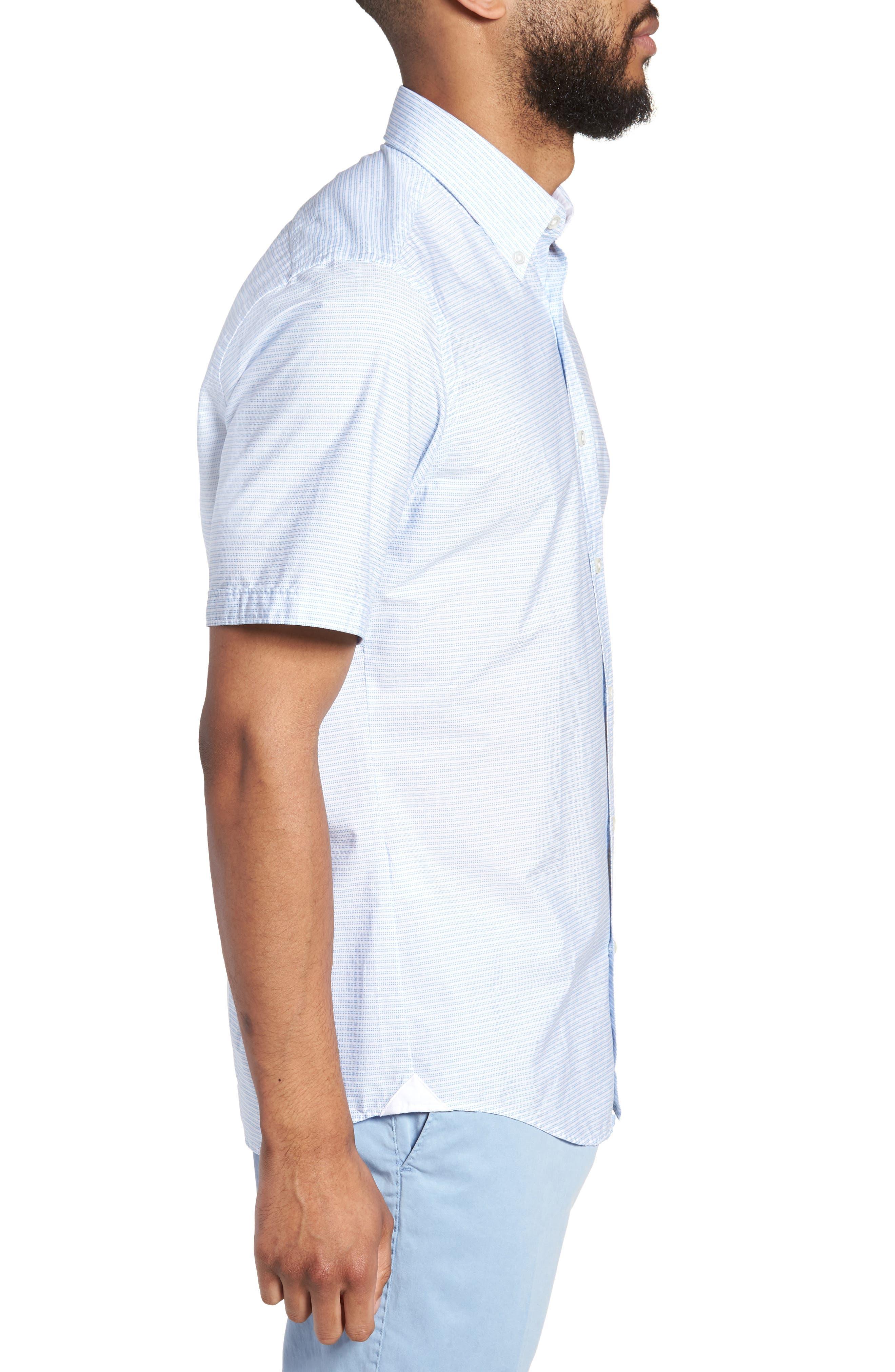 Lodi Slim Fit Stripe Sport Shirt,                             Alternate thumbnail 4, color,                             Light Blue