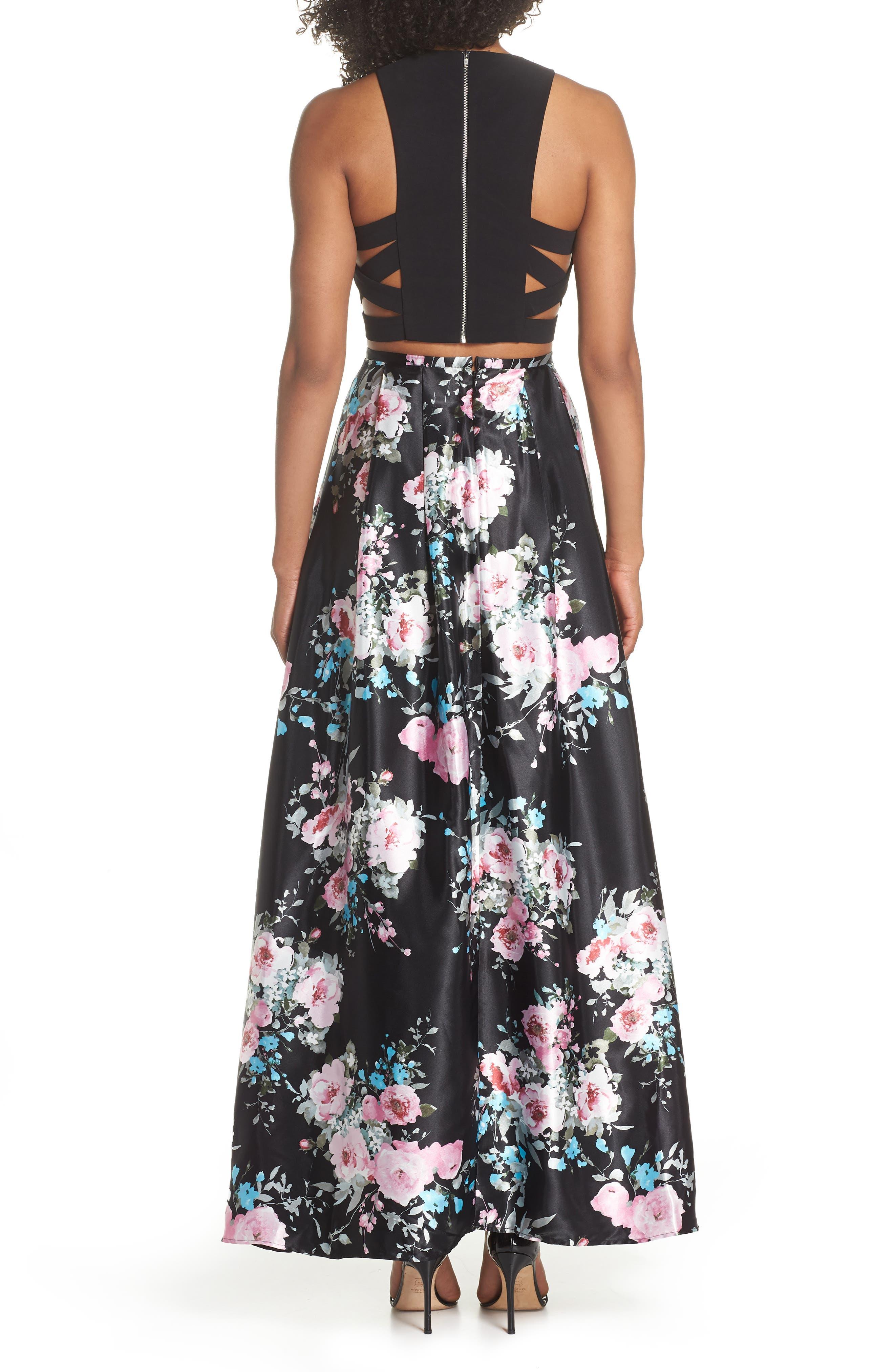 Two-Piece Ballgown,                             Alternate thumbnail 2, color,                             Black/ Floral