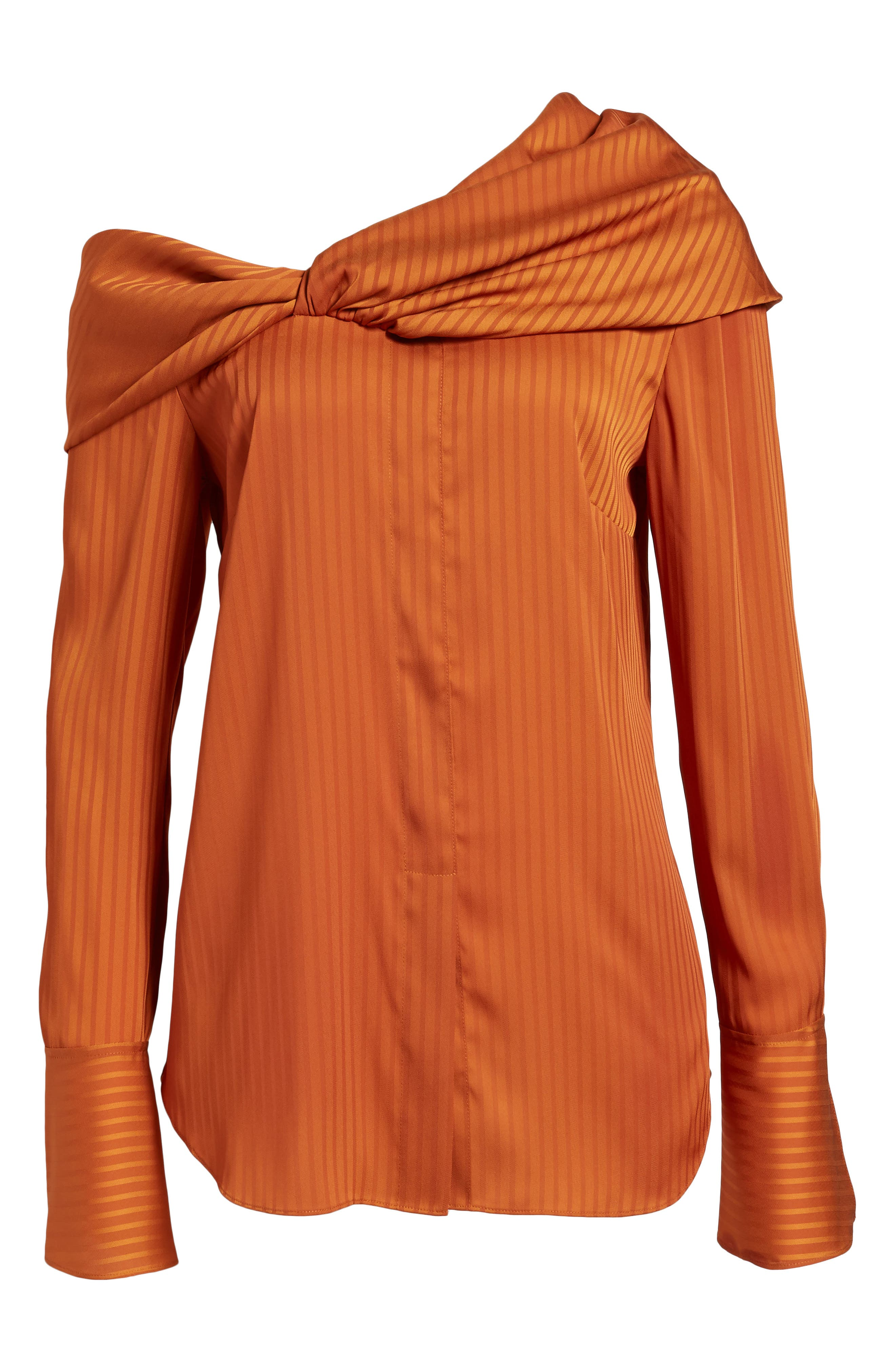 Draped One-Shoulder Top,                         Main,                         color, Rust Cider