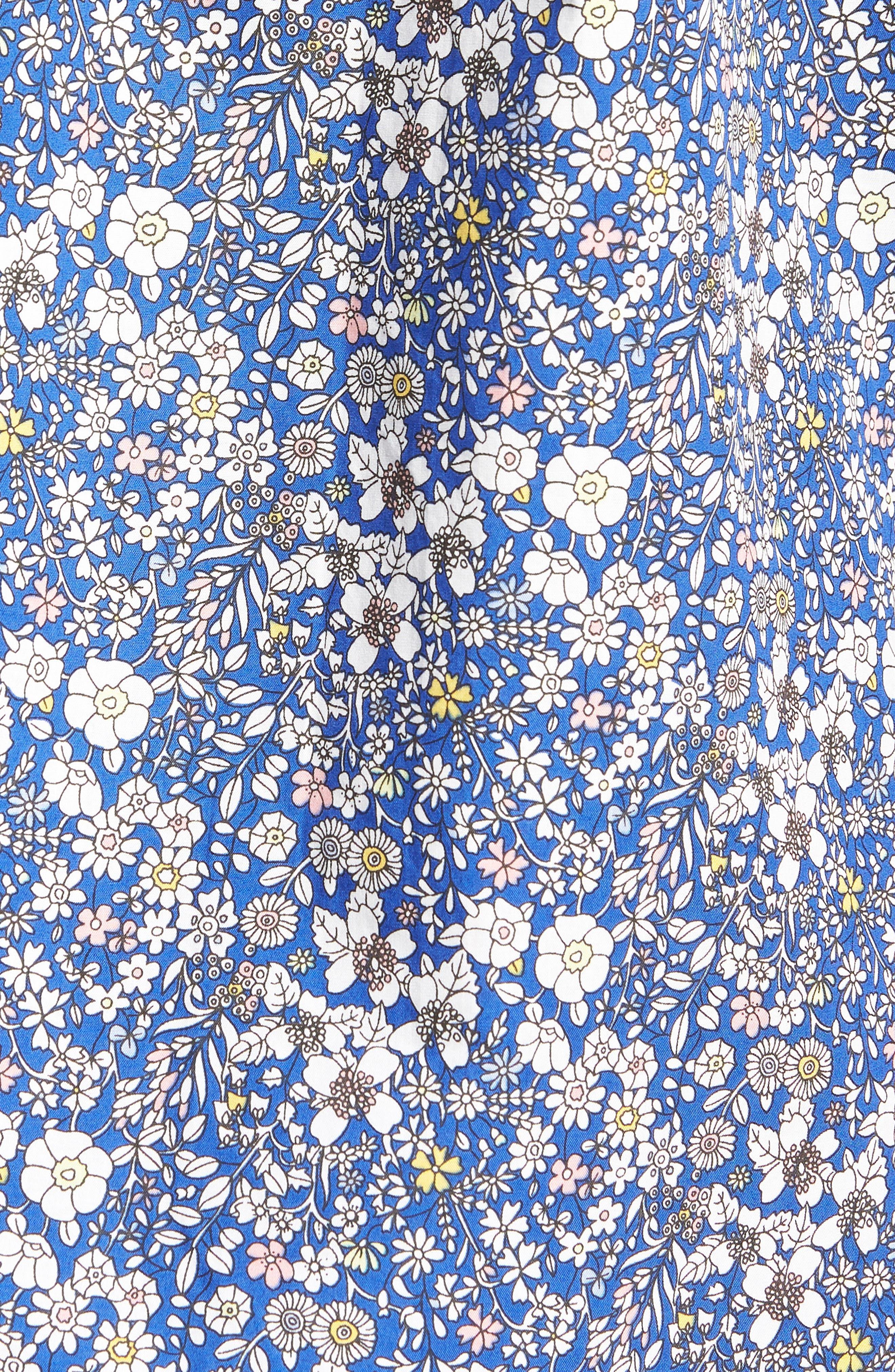 Trim Fit Print Woven Short Sleeve Shirt,                             Alternate thumbnail 5, color,                             Blue Pink Floral