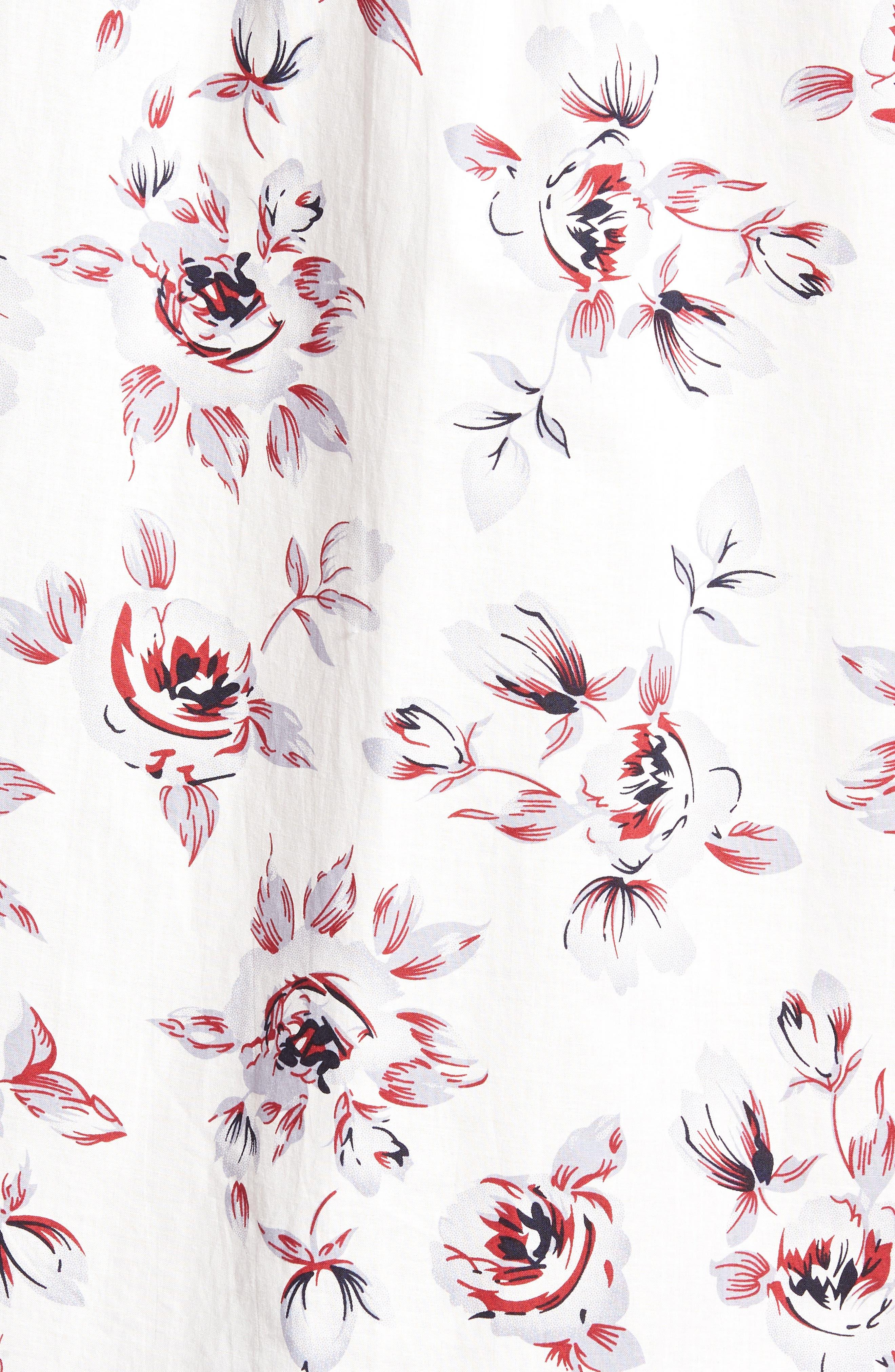 Trim Fit Print Woven Short Sleeve Shirt,                             Alternate thumbnail 5, color,                             White Red Rose
