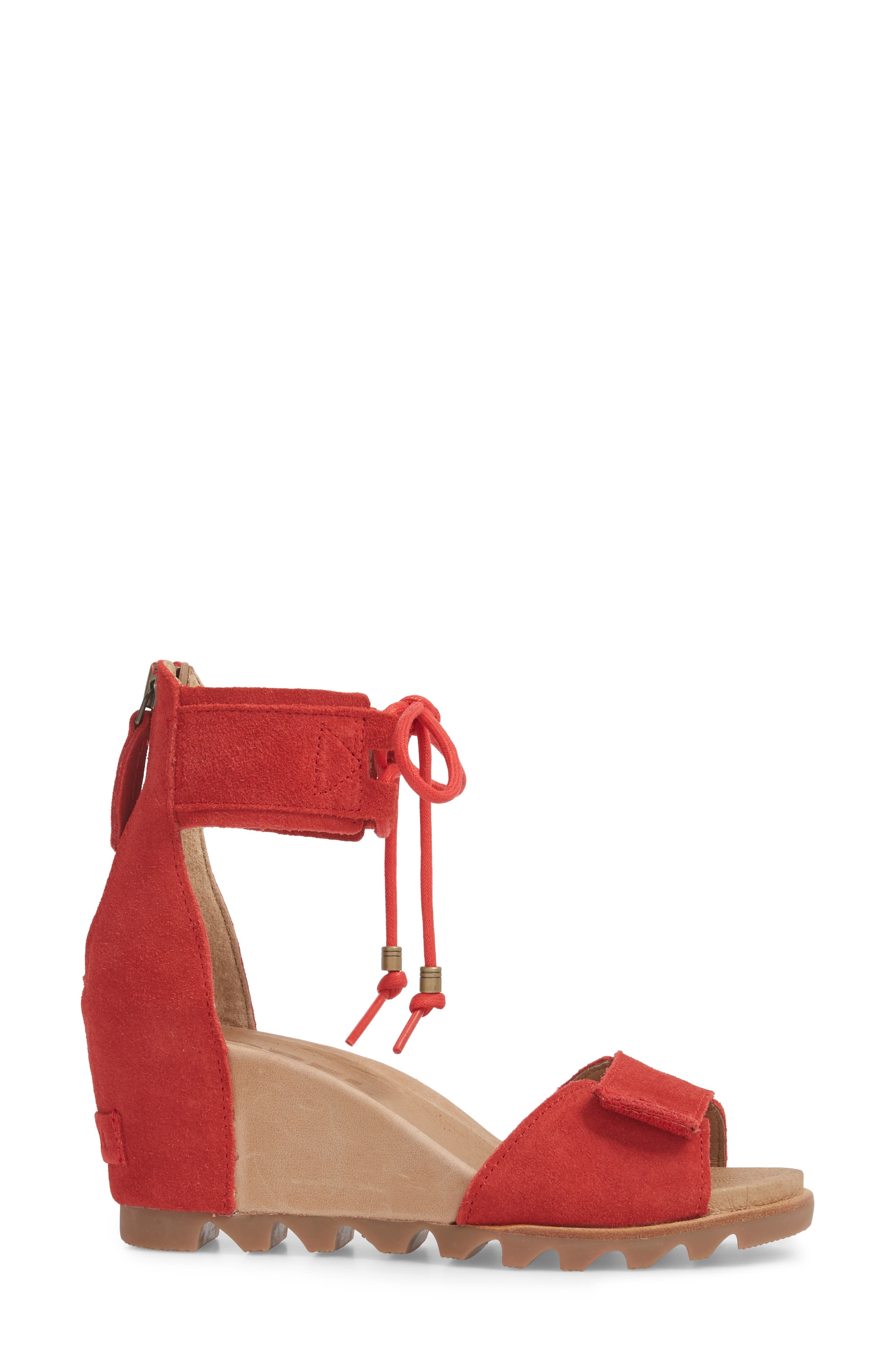Joanie Cuff Wedge Sandal,                             Alternate thumbnail 3, color,                             Bright Red