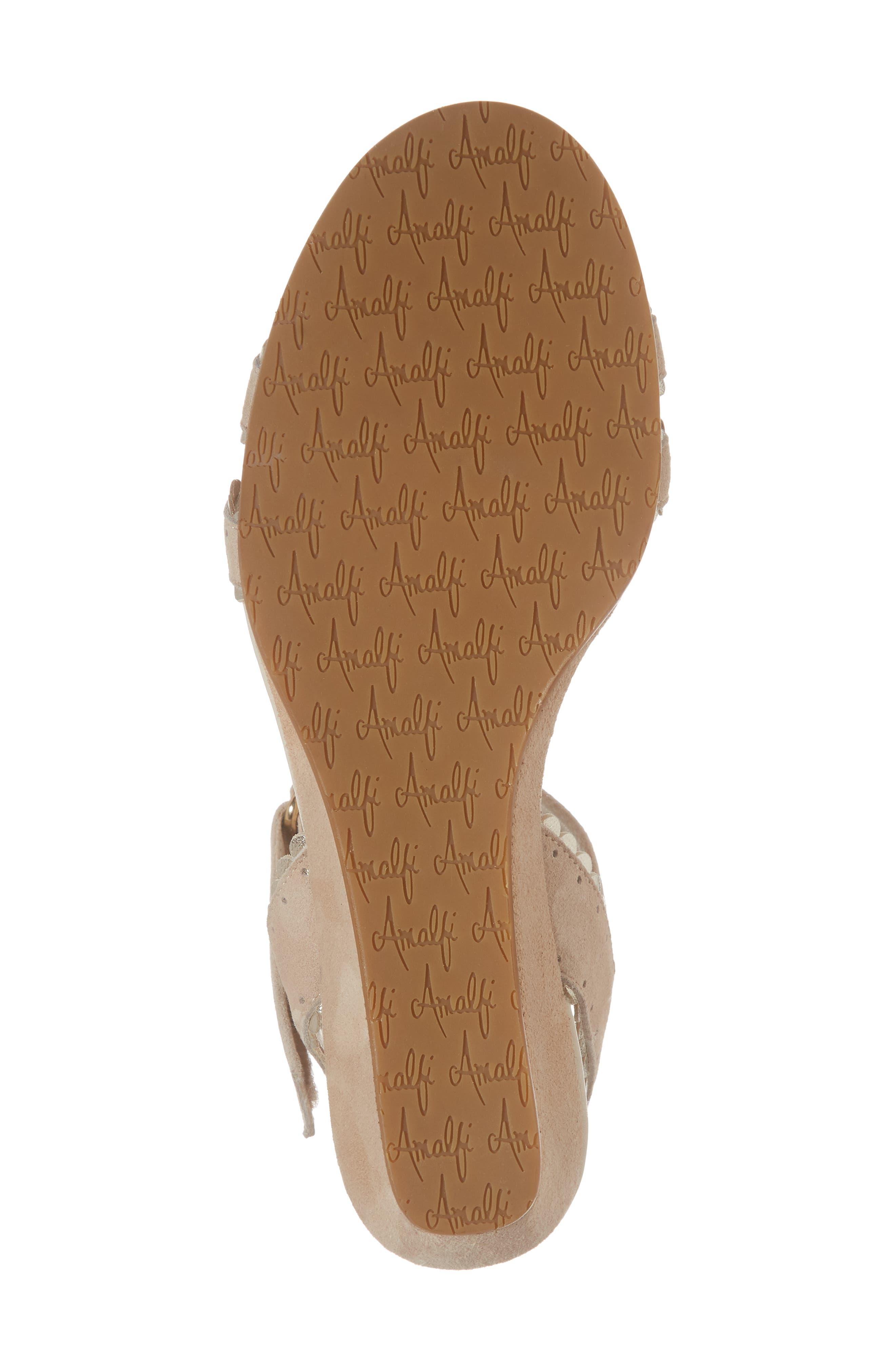 Messina Wedge Sandal,                             Alternate thumbnail 6, color,                             Cream/ Platinum Suede