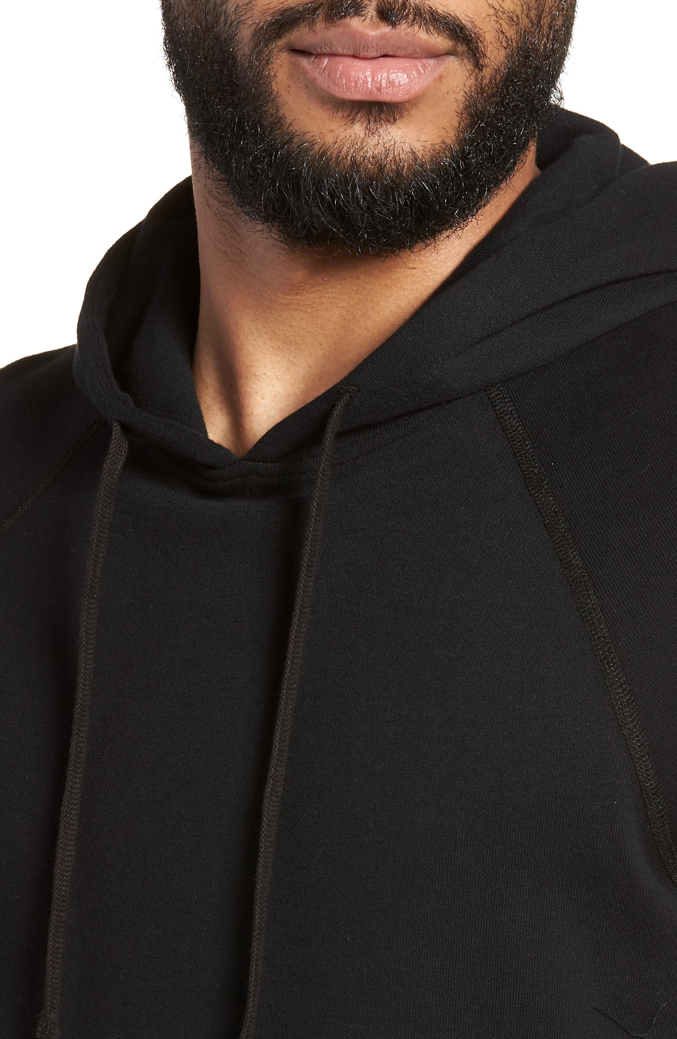 Cutoff Hoodie,                             Alternate thumbnail 4, color,                             Black