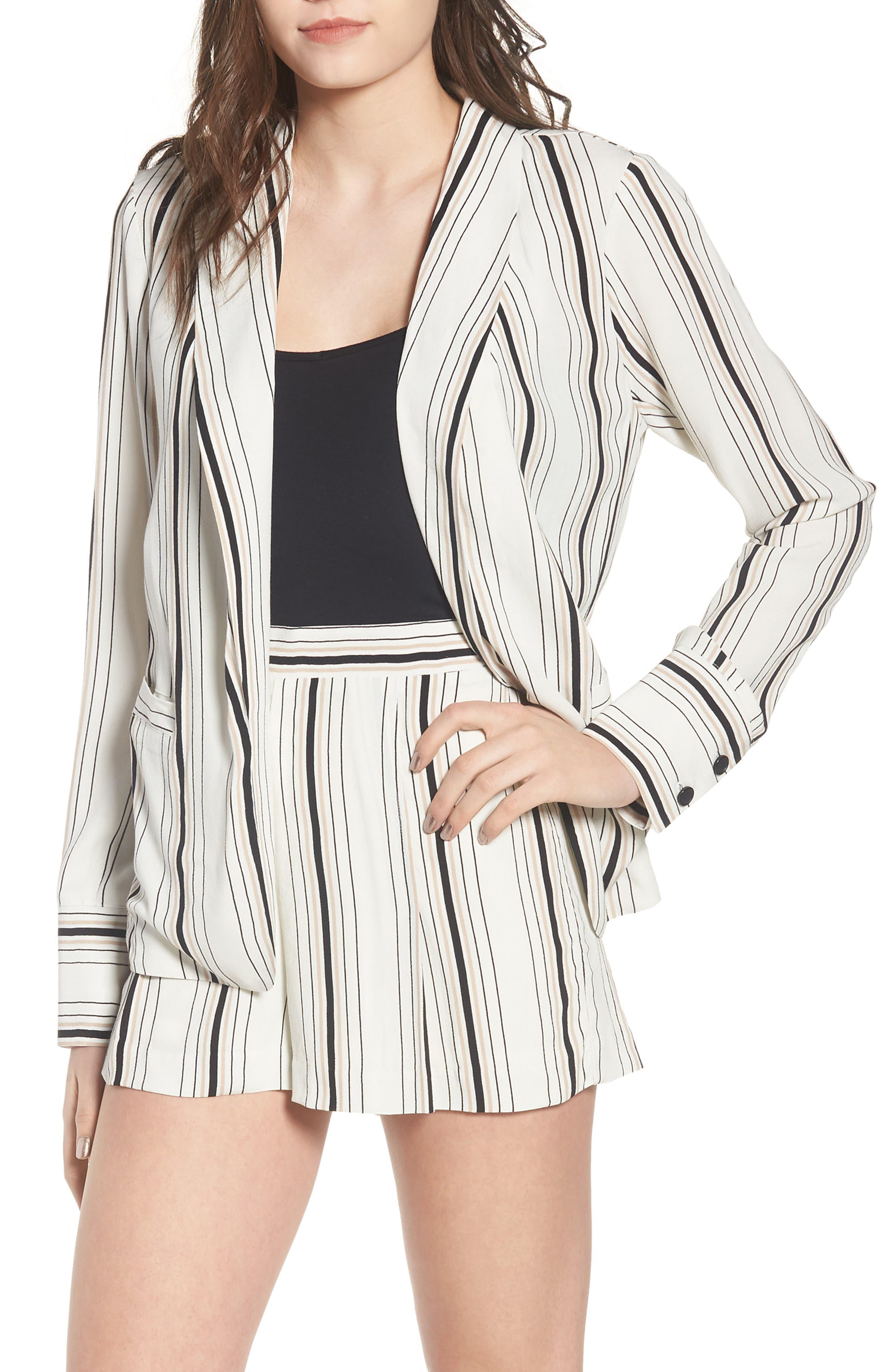 Stripe Blazer,                             Main thumbnail 1, color,                             Ivory Stripe