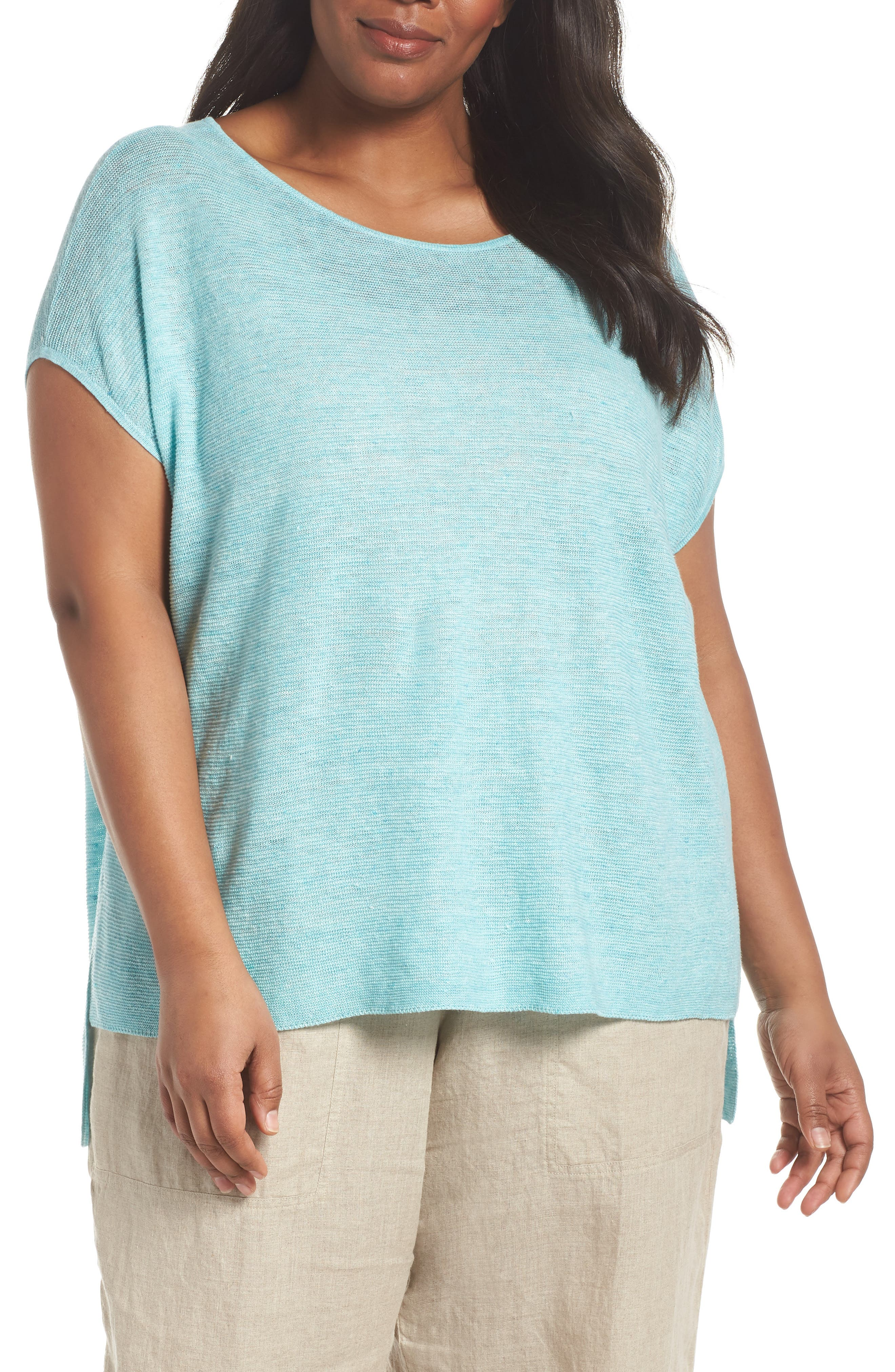 Organic Linen Poncho,                         Main,                         color, Pale Turquoise