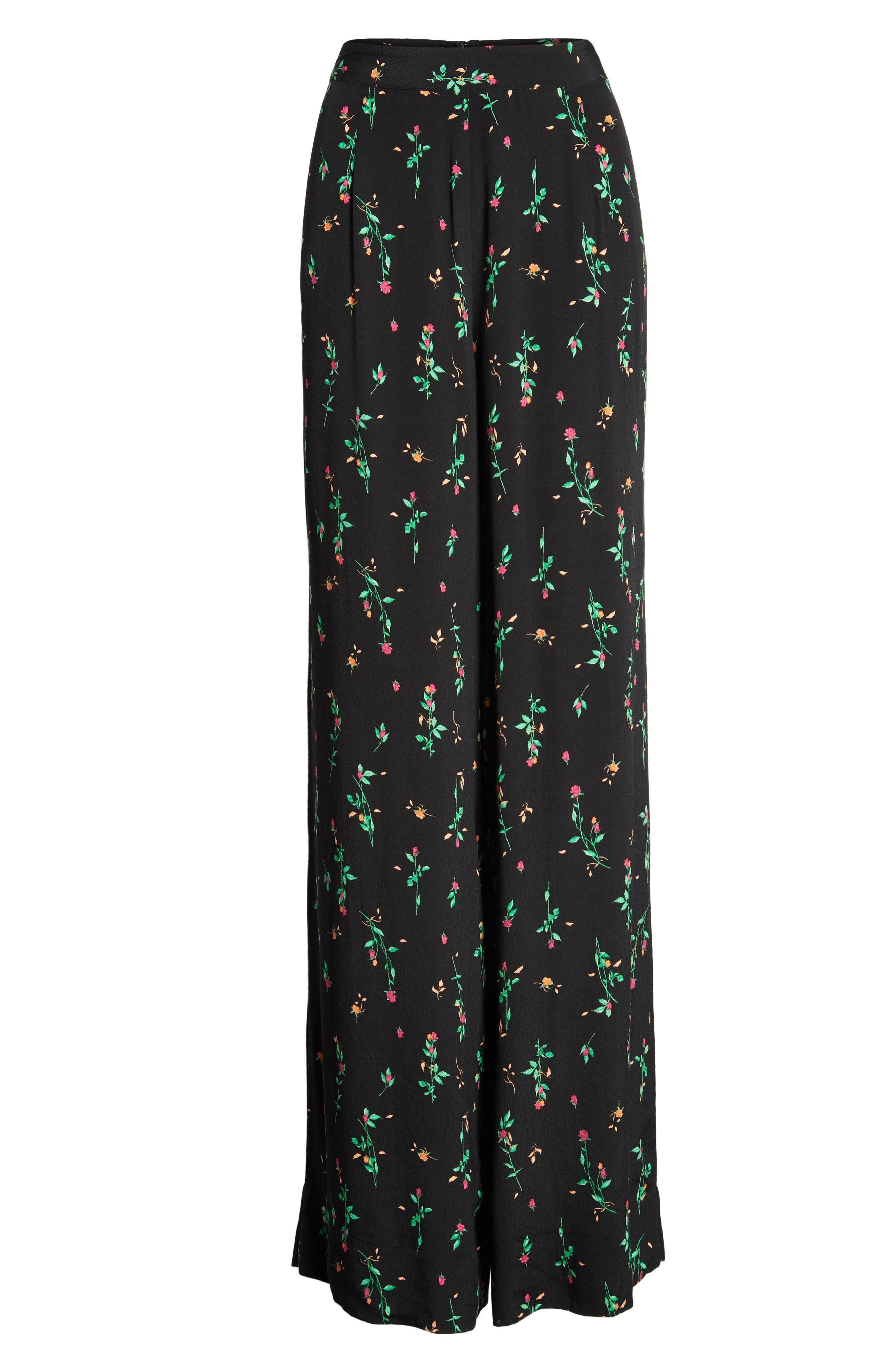 Carter High Waist Wide Leg Pants,                             Alternate thumbnail 7, color,                             Noir Rose Ditsy