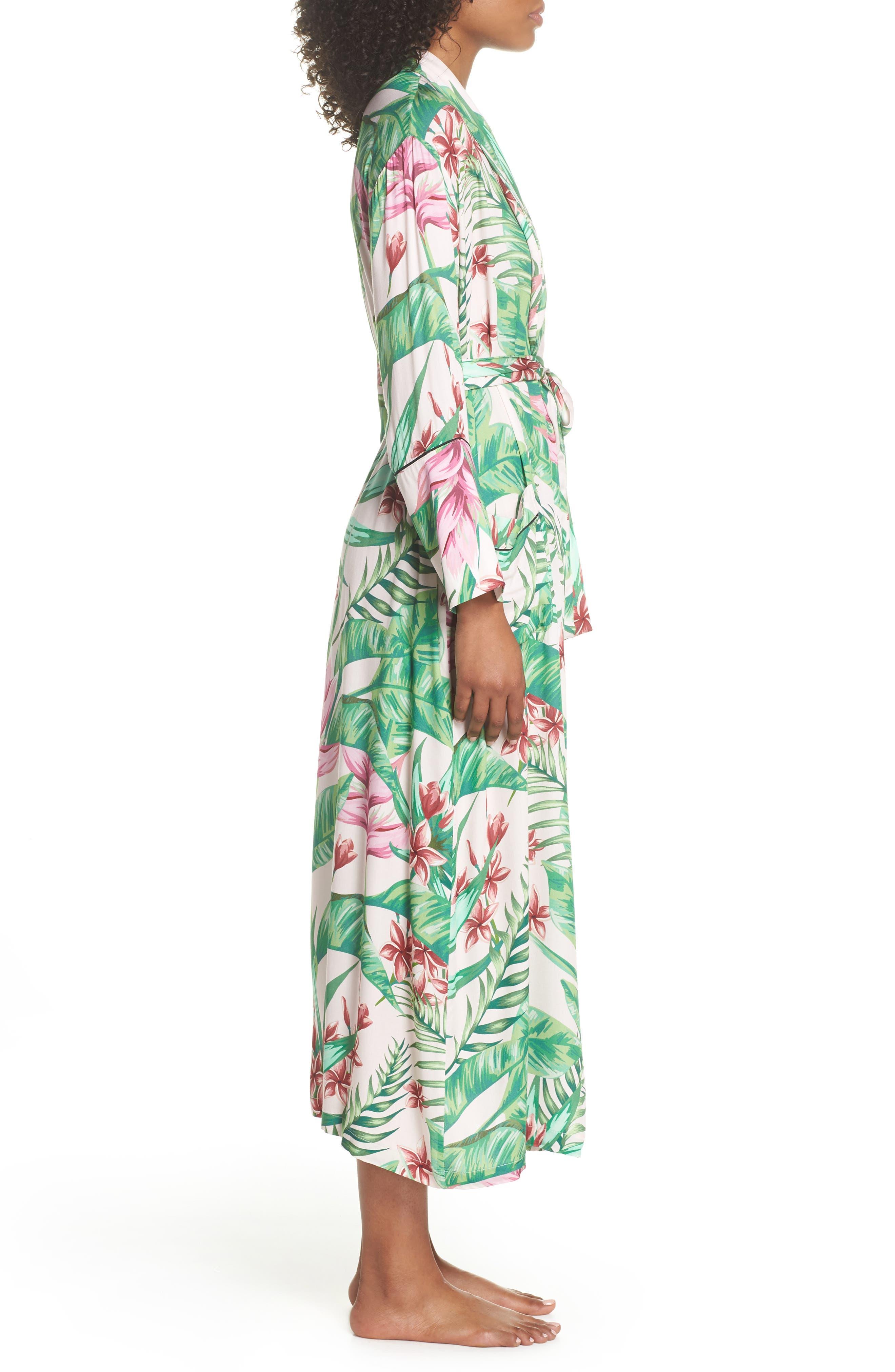Floral Print Robe,                             Alternate thumbnail 3, color,                             Avalon Palm