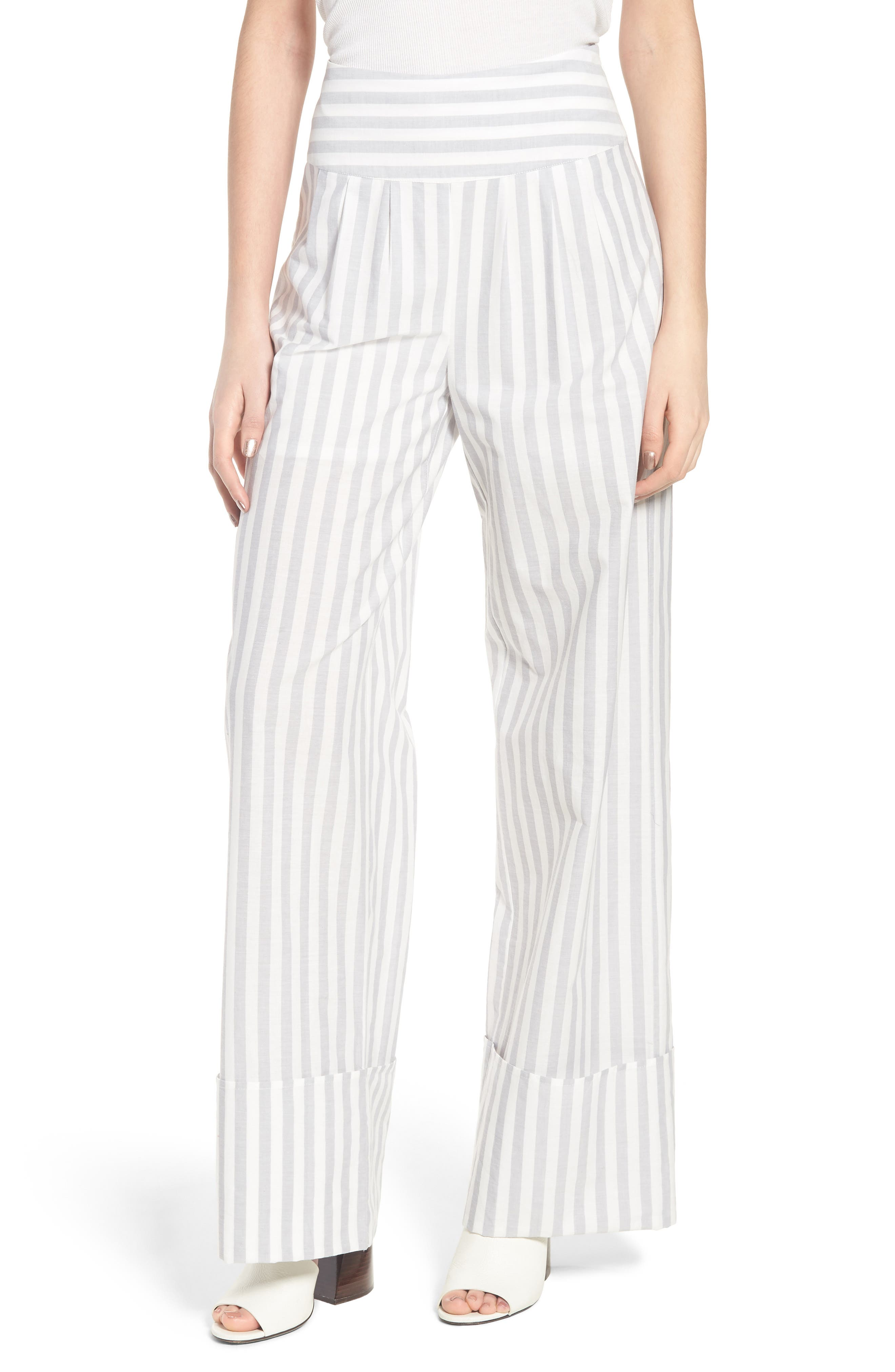 Wide Turn Up Stripe Trouser,                             Main thumbnail 1, color,                             Light Grey