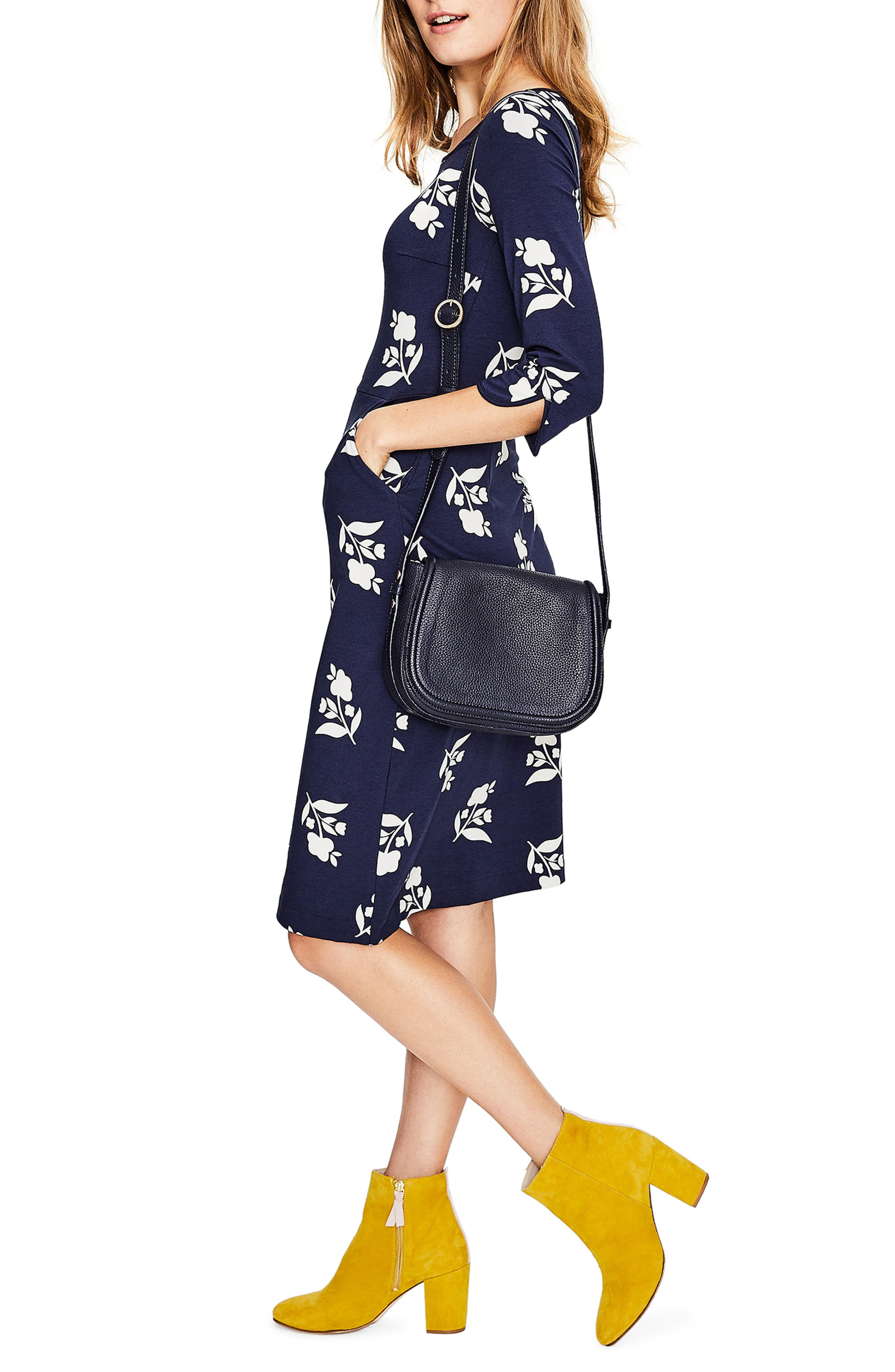 Jessie Jersey Floral Dress,                         Main,                         color, Navy Meadow Motif