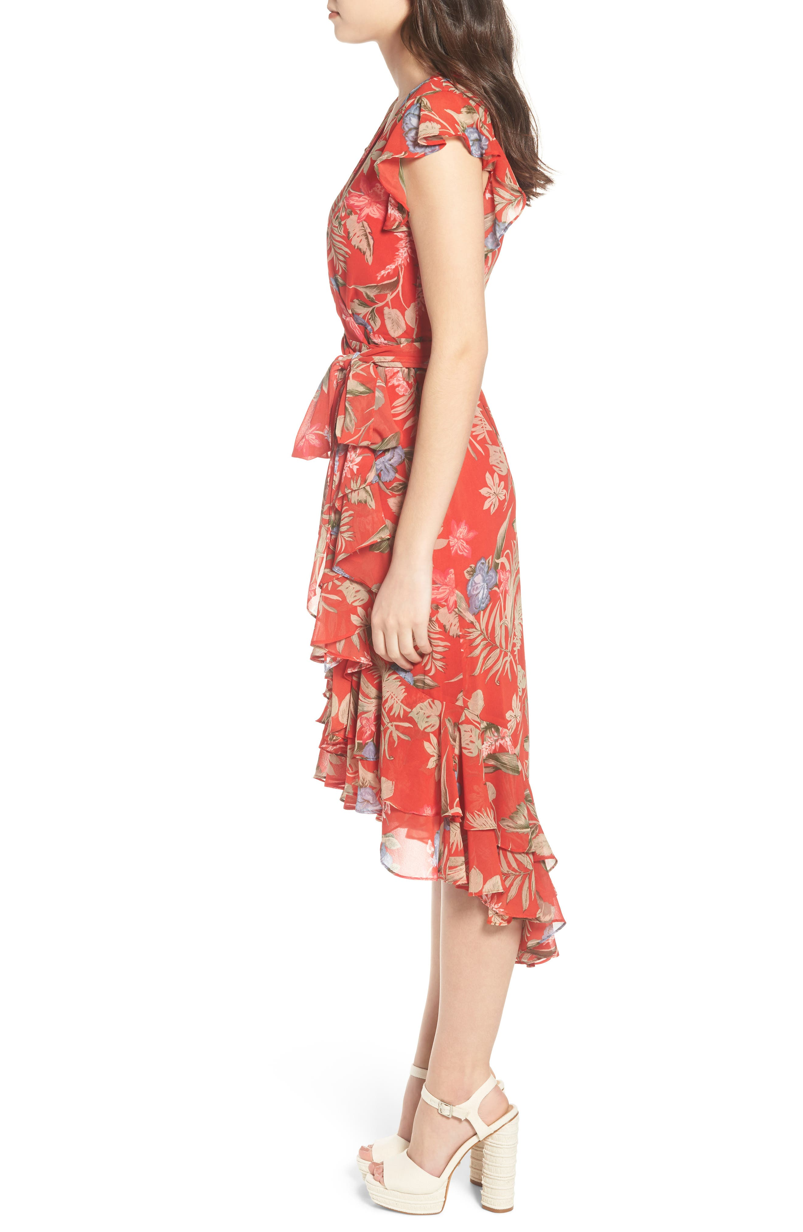 Clara Ruffle Wrap Dress,                             Alternate thumbnail 3, color,                             Red Tropical
