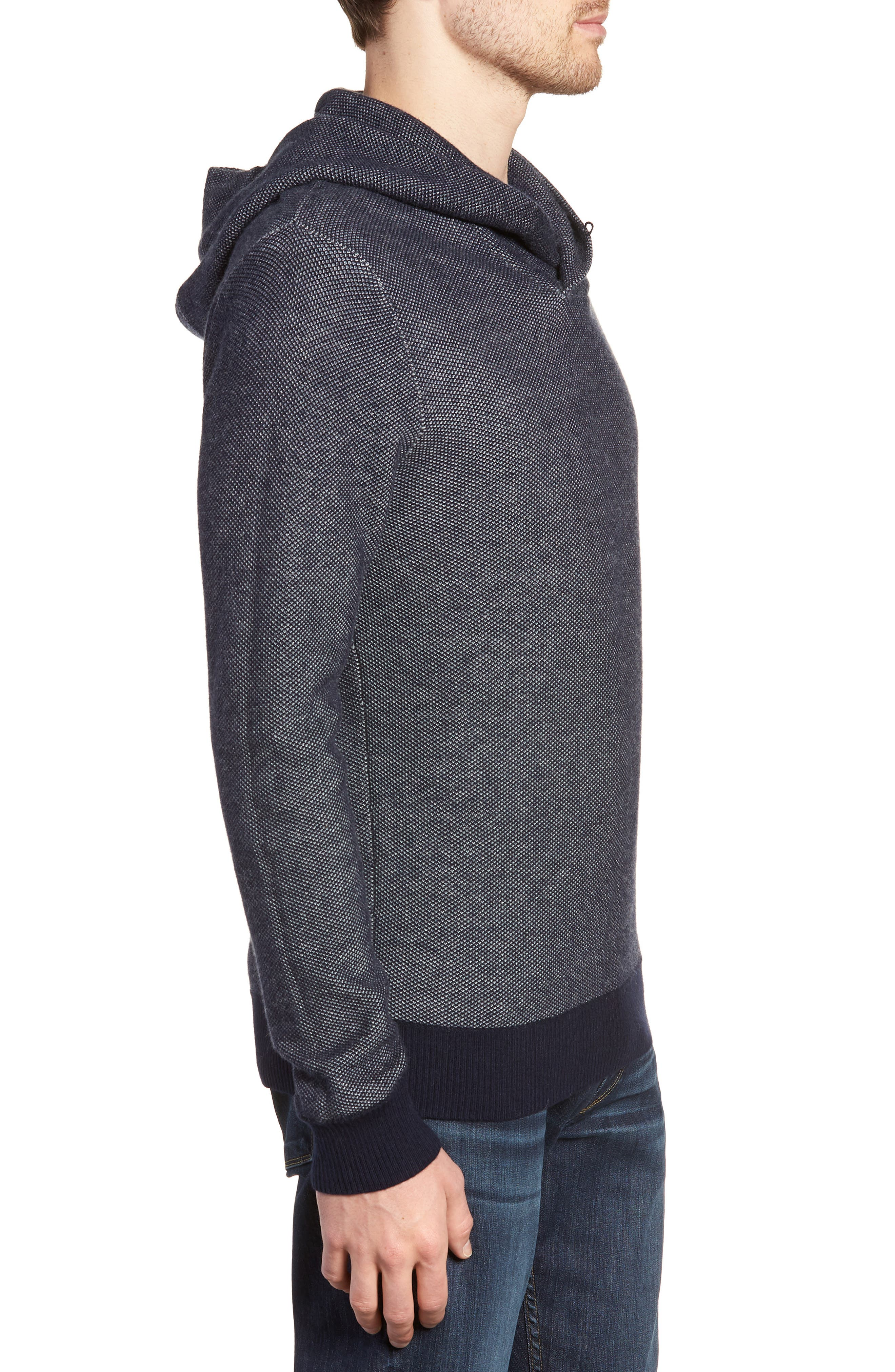 Cotton & Cashmere Hoodie,                             Alternate thumbnail 3, color,                             Midnight Blue/ Heather Silver